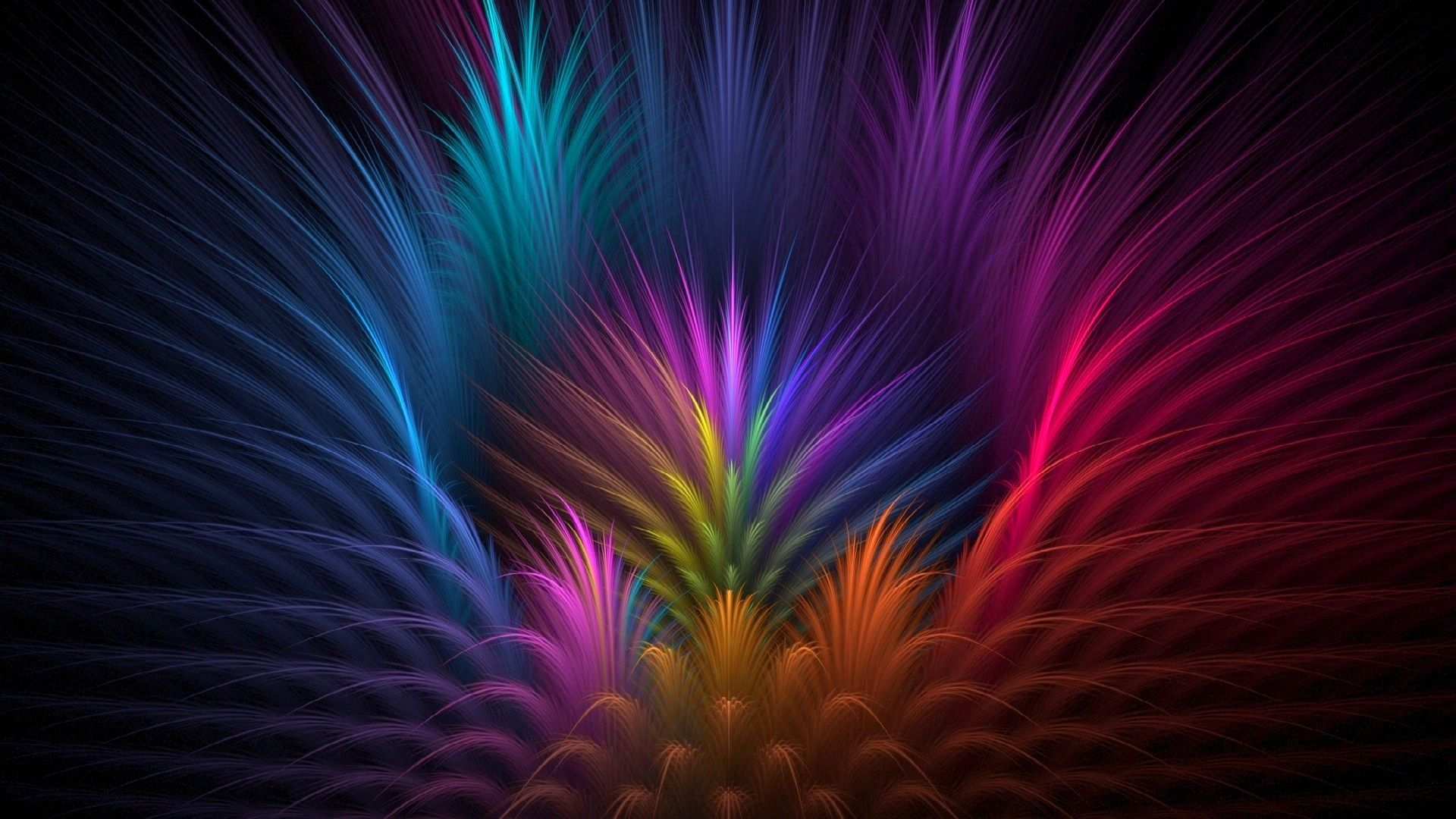 98781 скачать обои Цветок, Абстракция, Линии, Лепестки, Объем, Перья, Лучи, Симметрия - заставки и картинки бесплатно