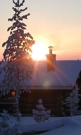 50161 скачать обои Пейзаж, Зима, Природа, Дома, Закат, Снег - заставки и картинки бесплатно