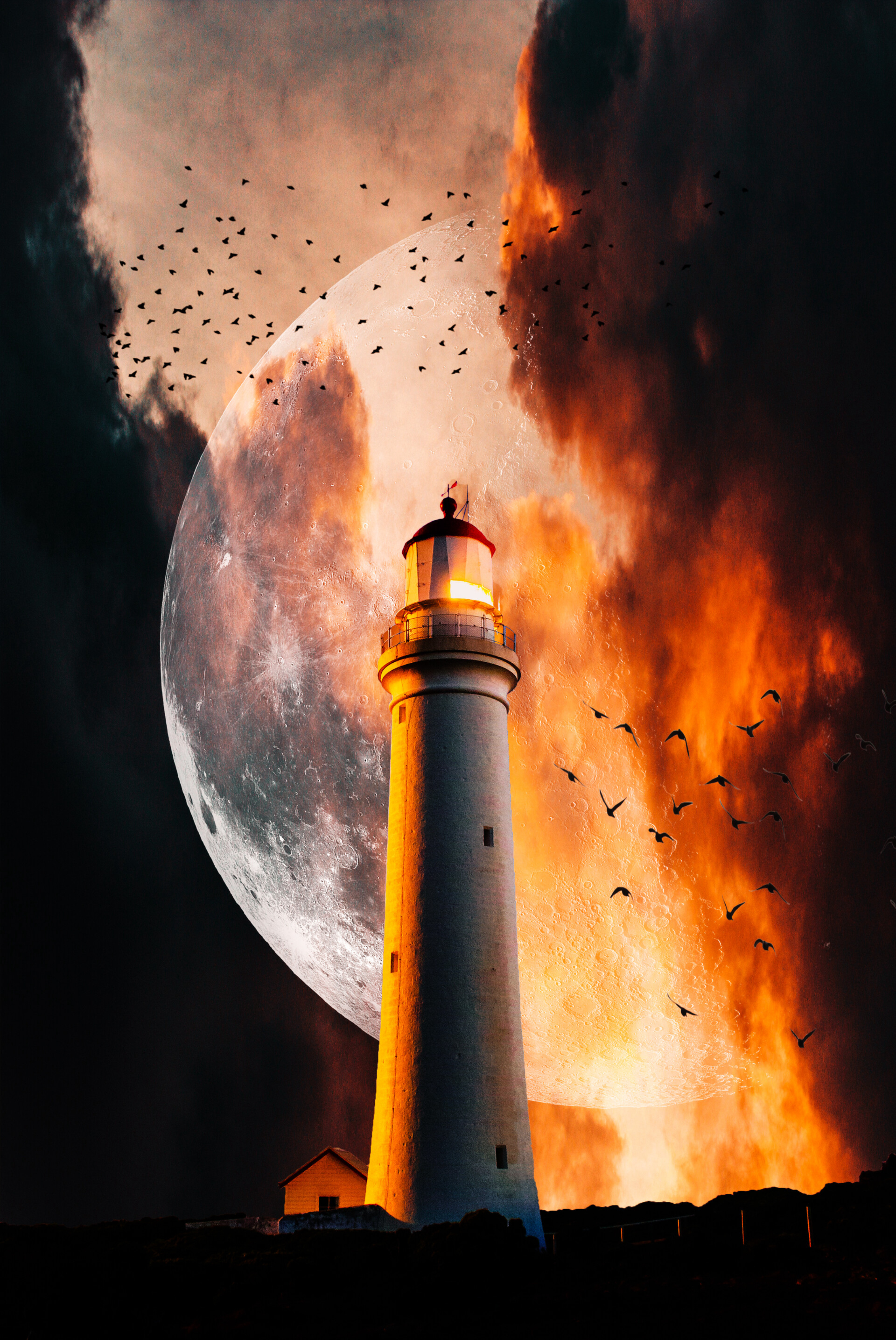 106702 download wallpaper Birds, Smoke, Night, Moon, Flame, Miscellanea, Miscellaneous, Lighthouse screensavers and pictures for free