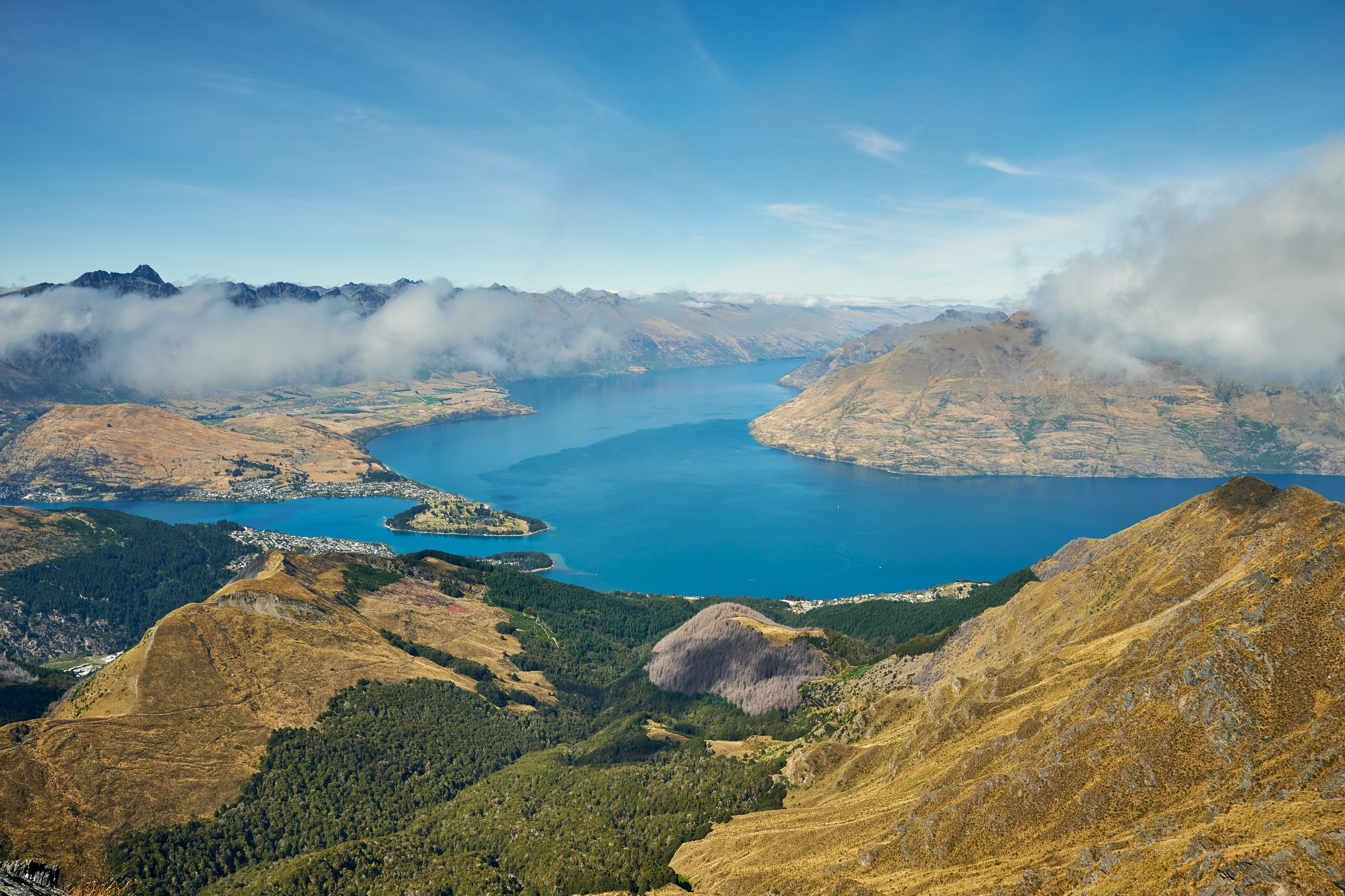144772 Screensavers and Wallpapers New Zealand for phone. Download Nature, Mountains, Clouds, View From Above, Lake, New Zealand pictures for free