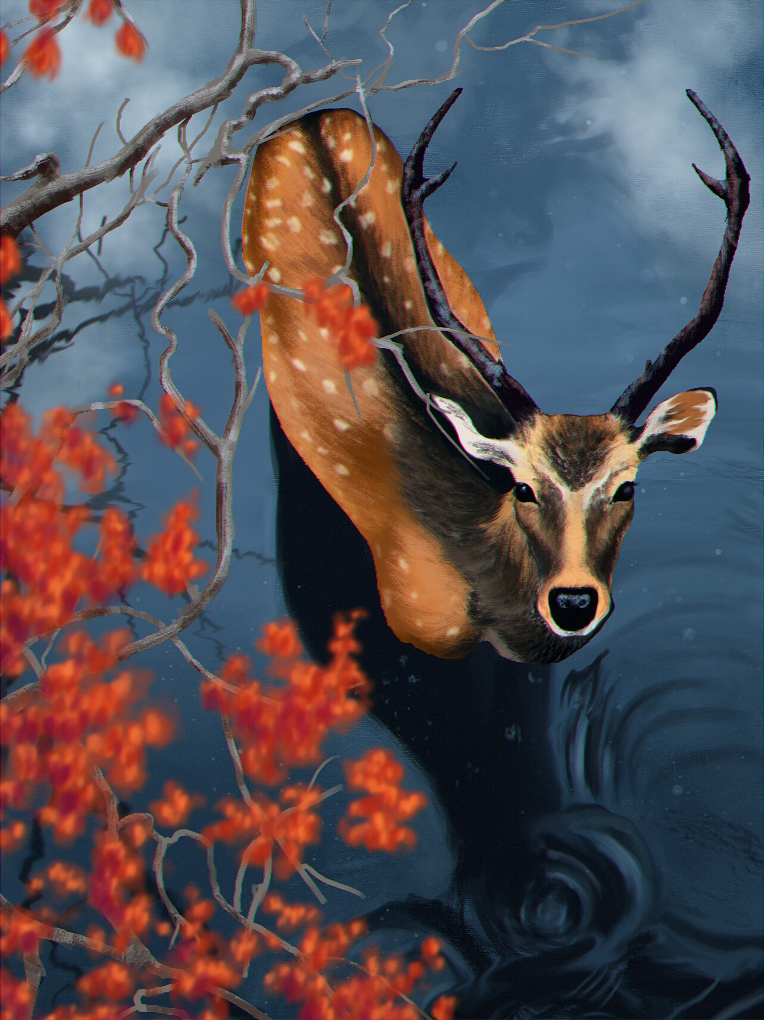 111989 download wallpaper Deer, Water, Branches, Art, Wildlife screensavers and pictures for free