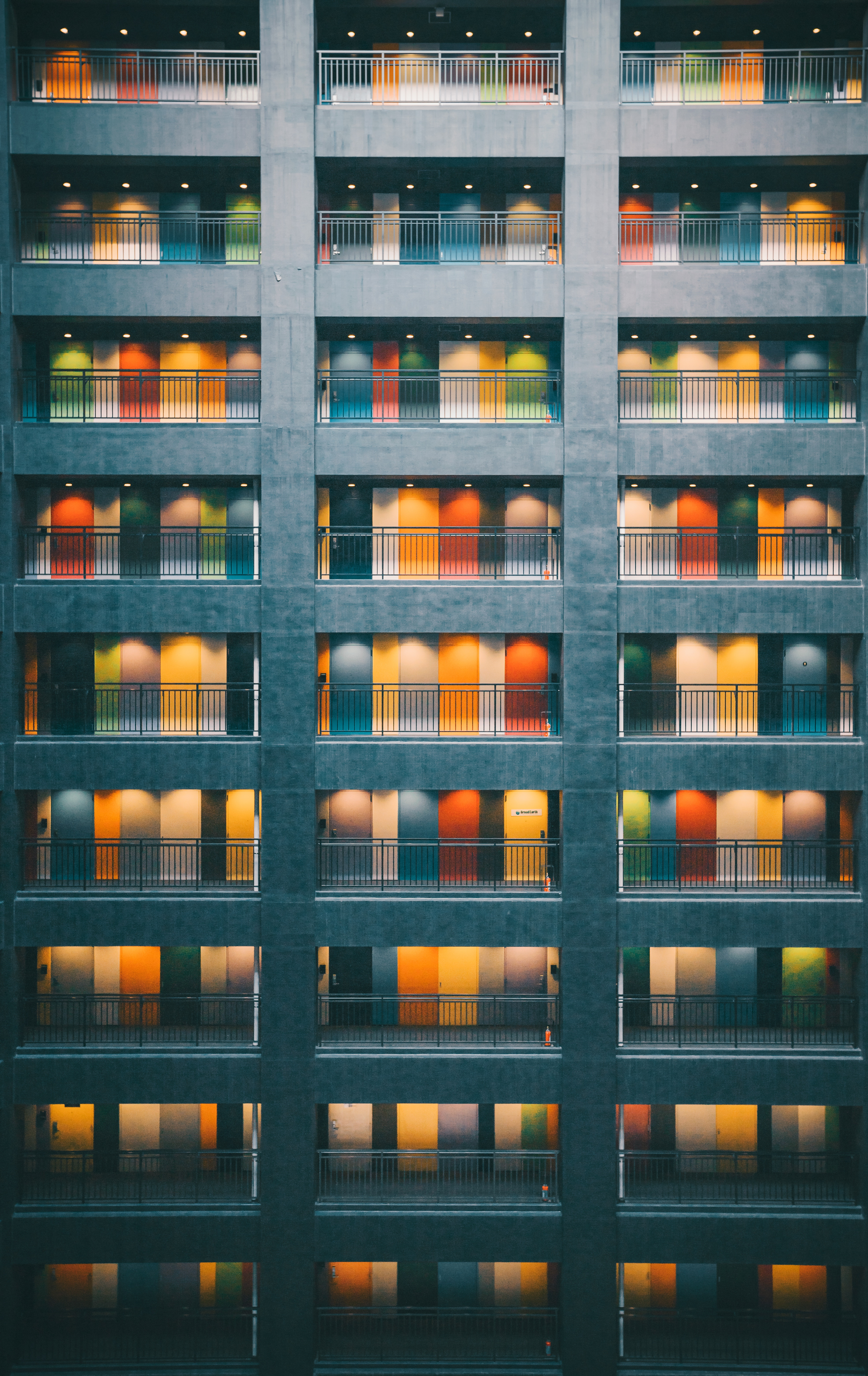 137176 download wallpaper Minimalism, Building, Doors, Door, Multicolored, Motley, Architecture screensavers and pictures for free