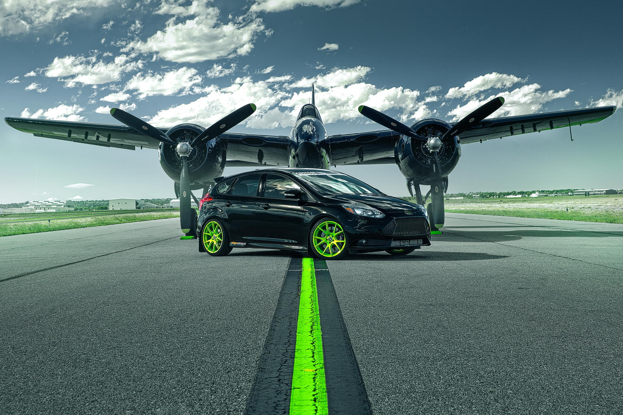 111415 download wallpaper Cars, Ford Focus, St, Ford, Plane, Airplane, Runway screensavers and pictures for free