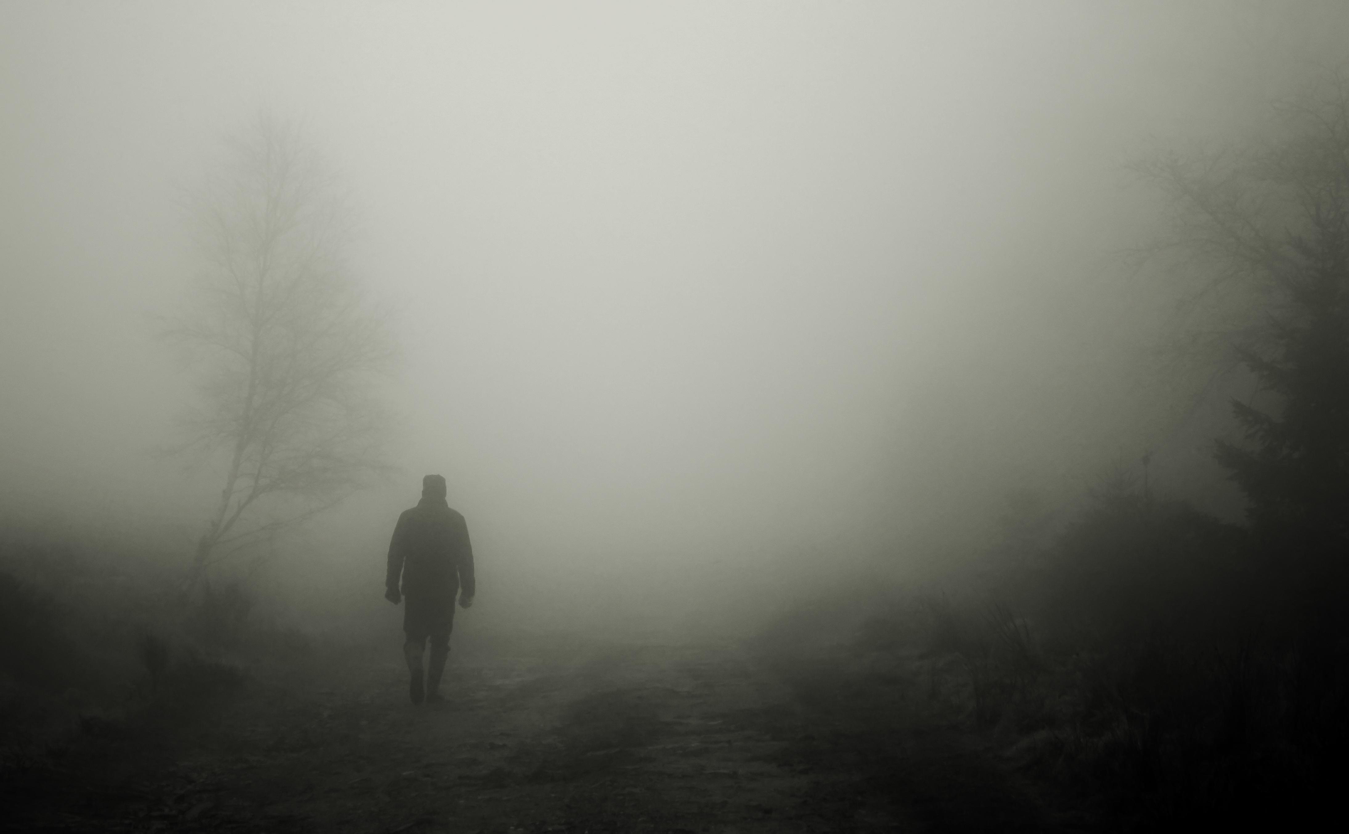 63799壁紙のダウンロードシルエット, 霧, 孤独, 寂しさ, 一人で, 寂しい-スクリーンセーバーと写真を無料で