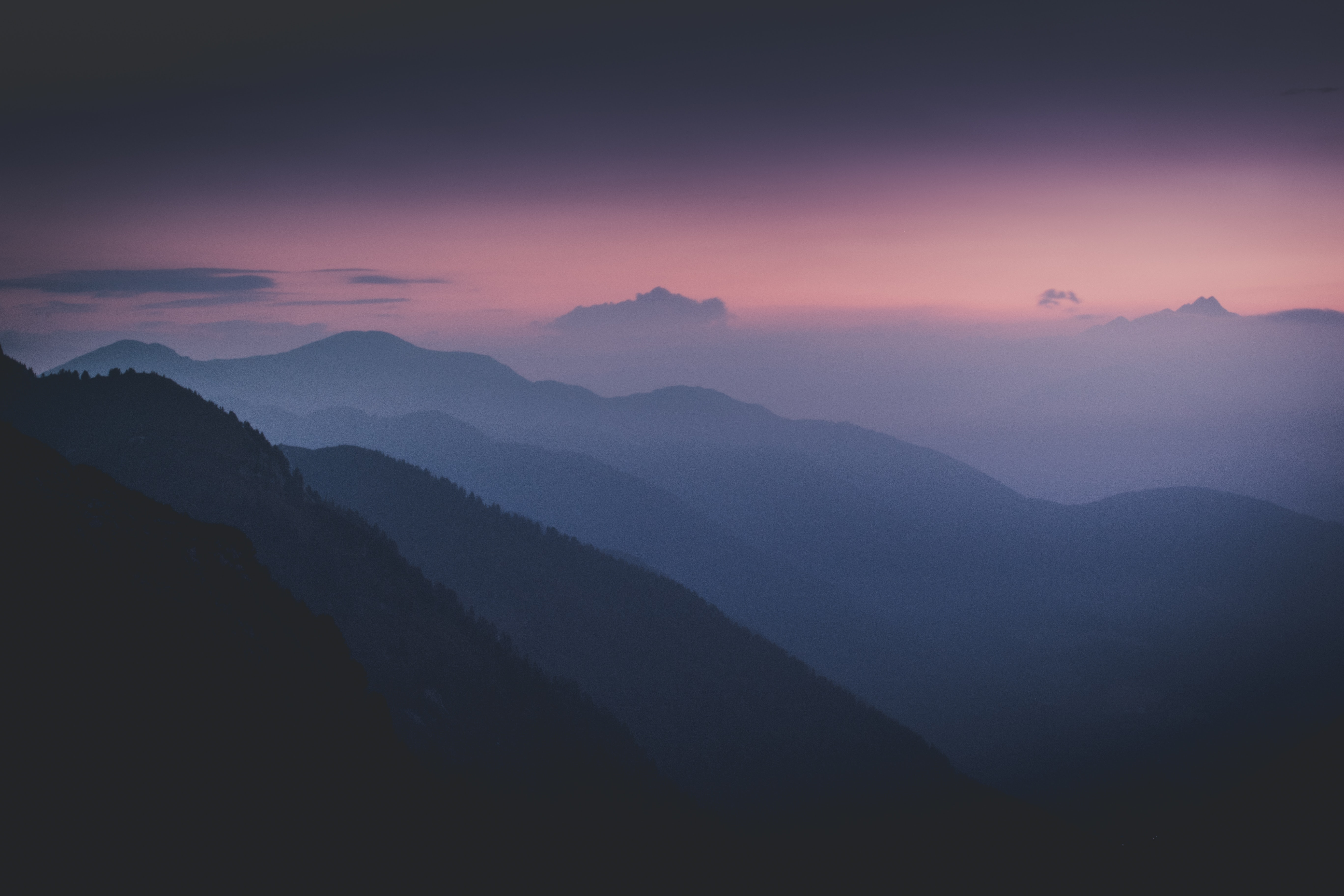 119500 free wallpaper 720x1520 for phone, download images Trees, Mountains, Night, Dark, Fog, Slopes 720x1520 for mobile