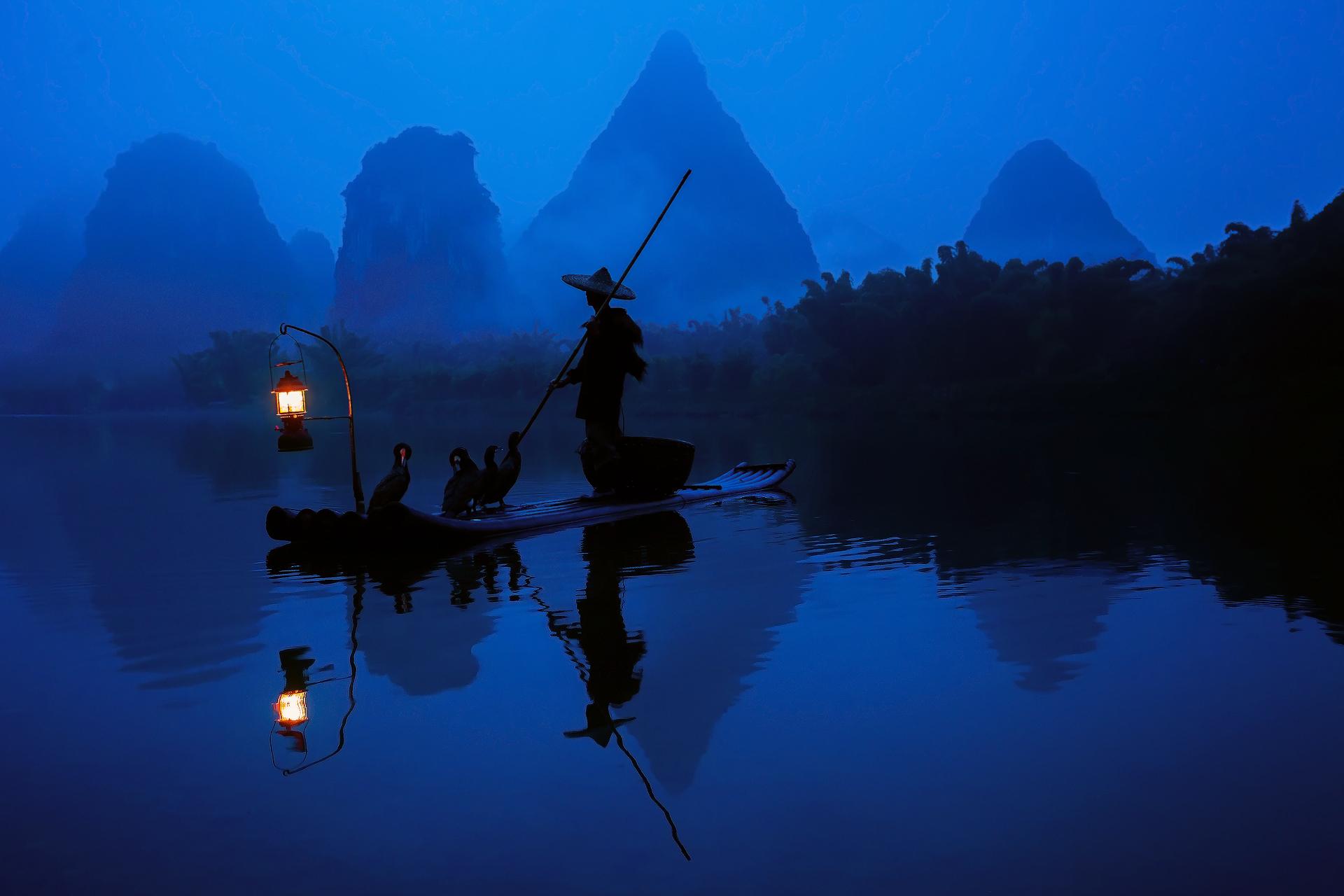 21593 скачать обои Пейзаж, Люди, Река, Азия, Рисунки, Лодки - заставки и картинки бесплатно