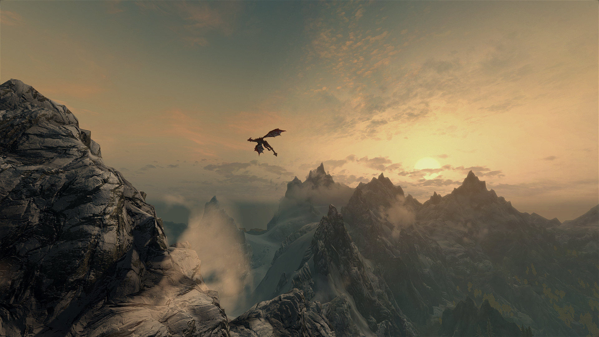 19399 download wallpaper Fantasy, Sunset, Mountains, Dragons screensavers and pictures for free
