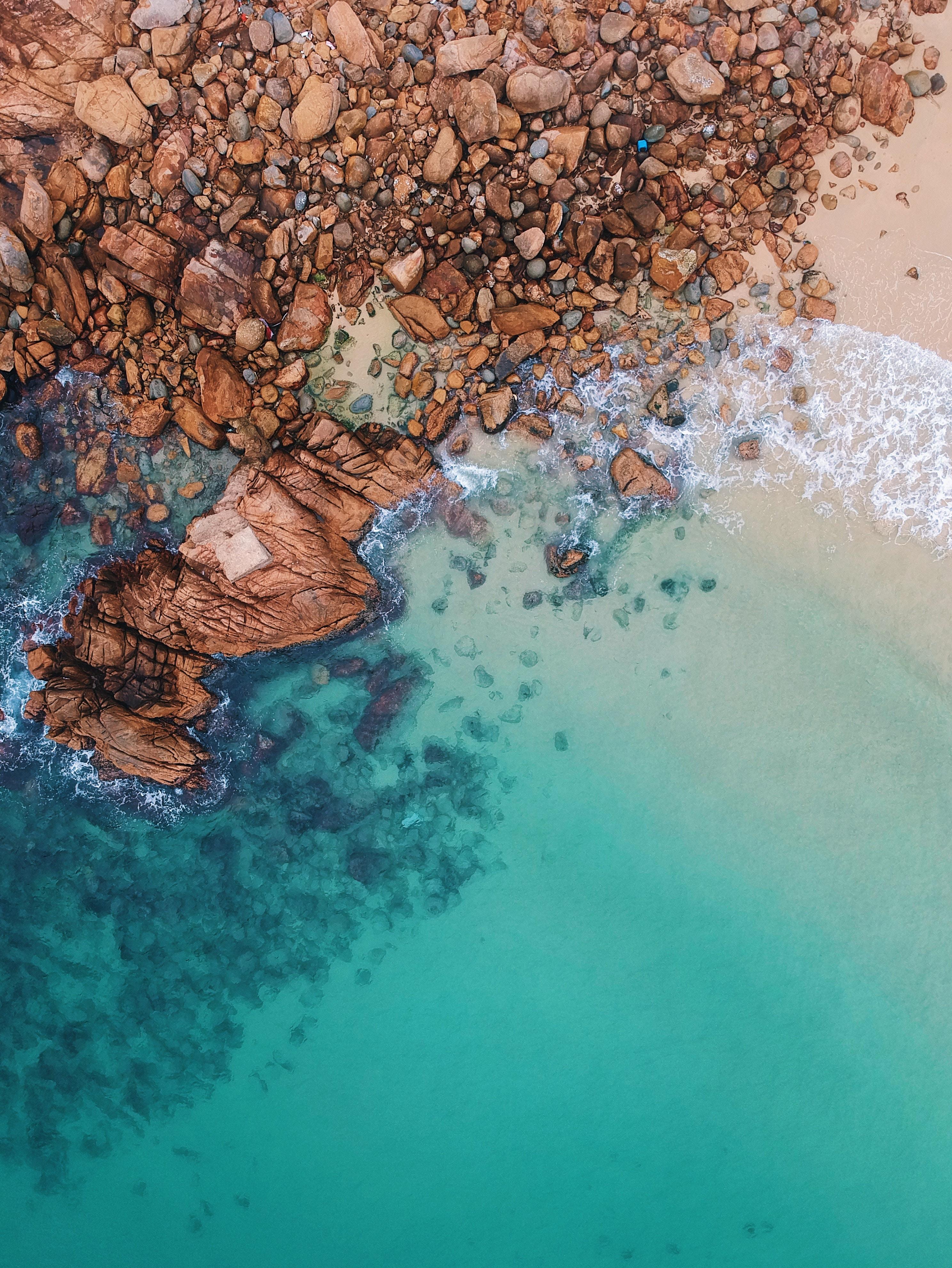 91126 скачать обои Камни, Природа, Вода, Песок, Вид Сверху, Океан, Пена - заставки и картинки бесплатно