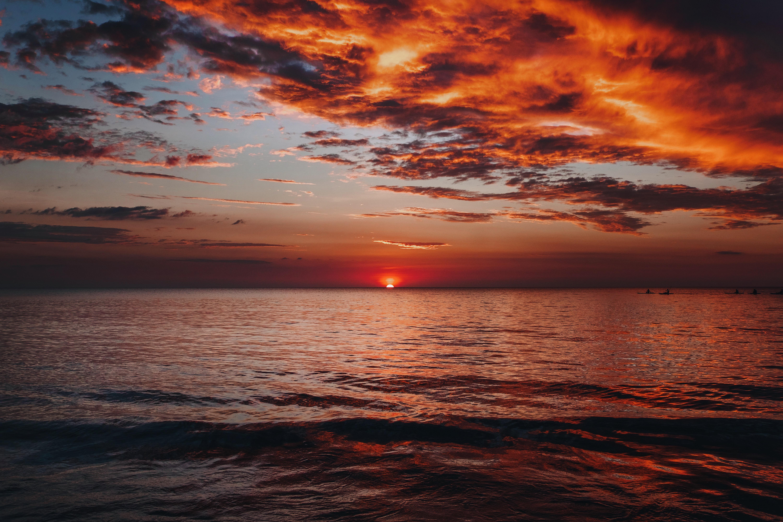 155831 télécharger le fond d'écran Nature, Coucher De Soleil, Mer, Horizon, Crépuscule, Paysage - économiseurs d'écran et images gratuitement