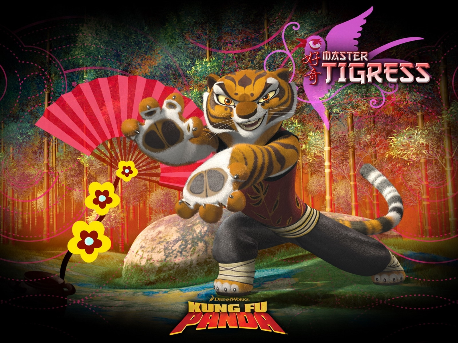 3720 download wallpaper Cartoon, Panda Kung-Fu, Tigers screensavers and pictures for free