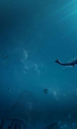 64598壁紙のダウンロードアート, 鯨, 海洋, 大洋, 水中の世界, 水中ワールド, 気泡, 下, 底, 光のビーム, 光線の光線-スクリーンセーバーと写真を無料で