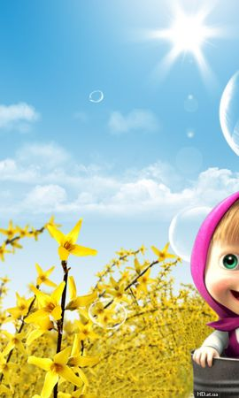 13865 скачать обои Мультфильмы, Дети, Солнце, Маша И Медведь - заставки и картинки бесплатно