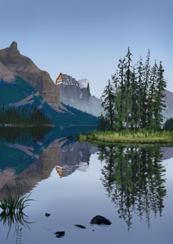 76715 обои 480x800 на телефон бесплатно, скачать картинки Пейзаж, Природа, Деревья, Арт, Гора, Озеро 480x800 на мобильный