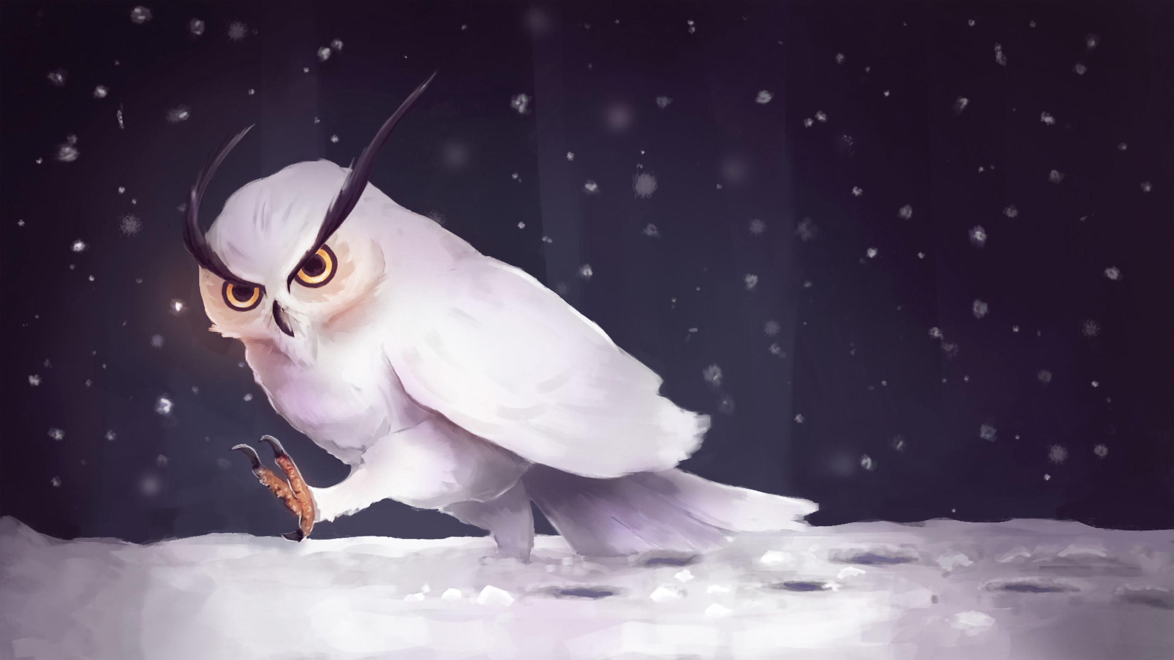 68457 Screensavers and Wallpapers Owl for phone. Download Owl, Snow, Art, Snowfall, Steps pictures for free