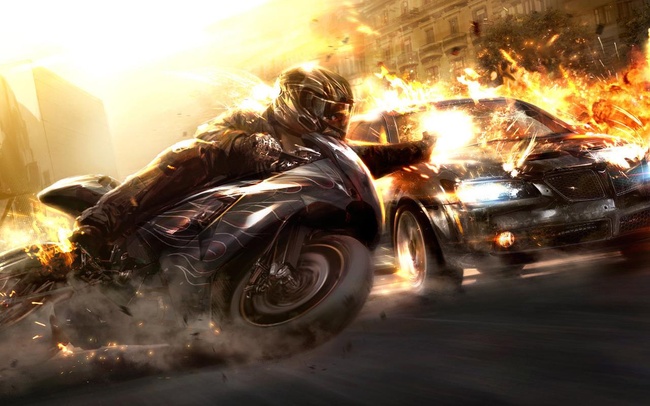 12036 скачать обои Кино, Арт, Огонь, Мотоциклы - заставки и картинки бесплатно