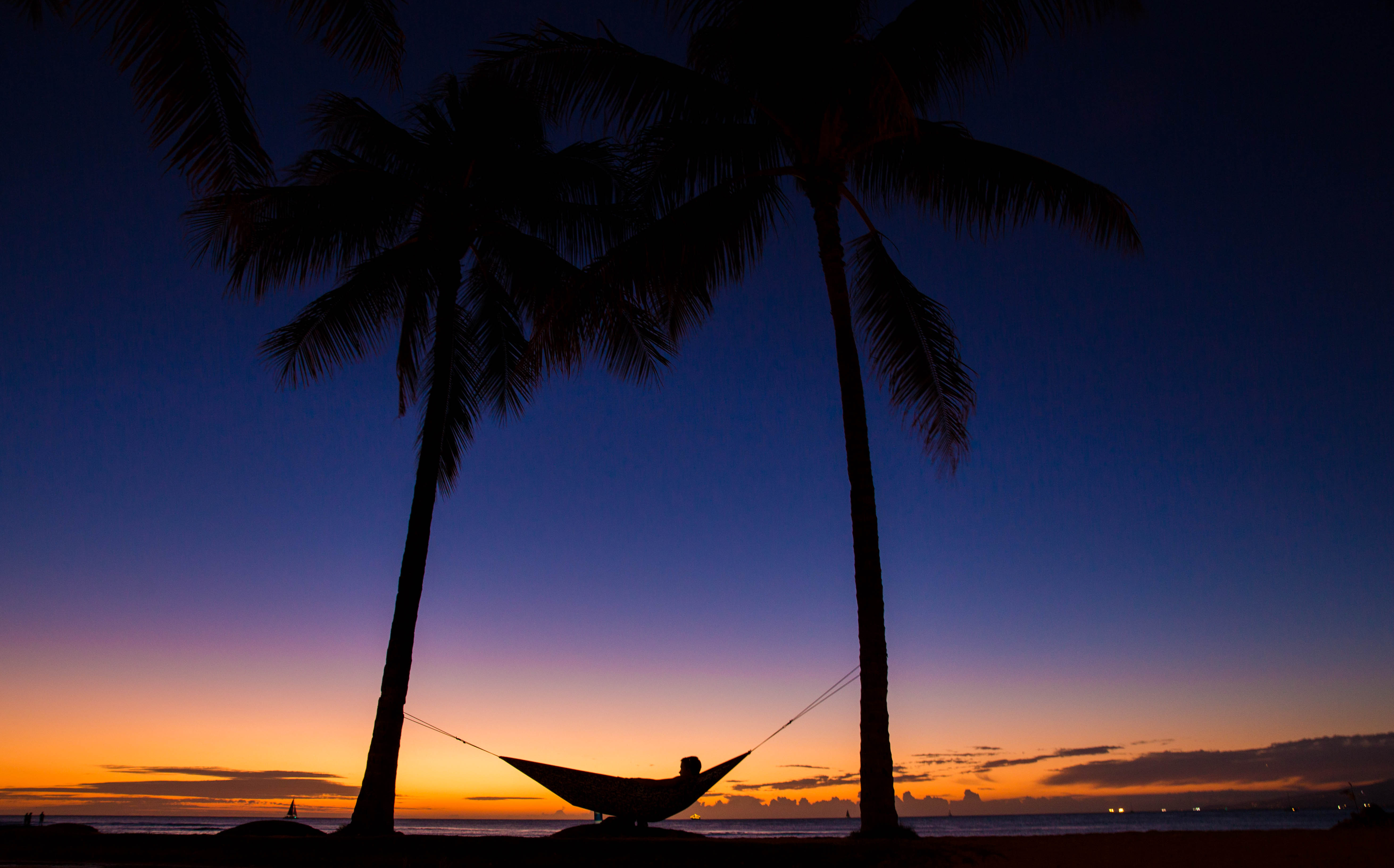103613 download wallpaper Night, Palms, Dark, Silhouettes, Relaxation, Rest, Tropics, Hammock screensavers and pictures for free