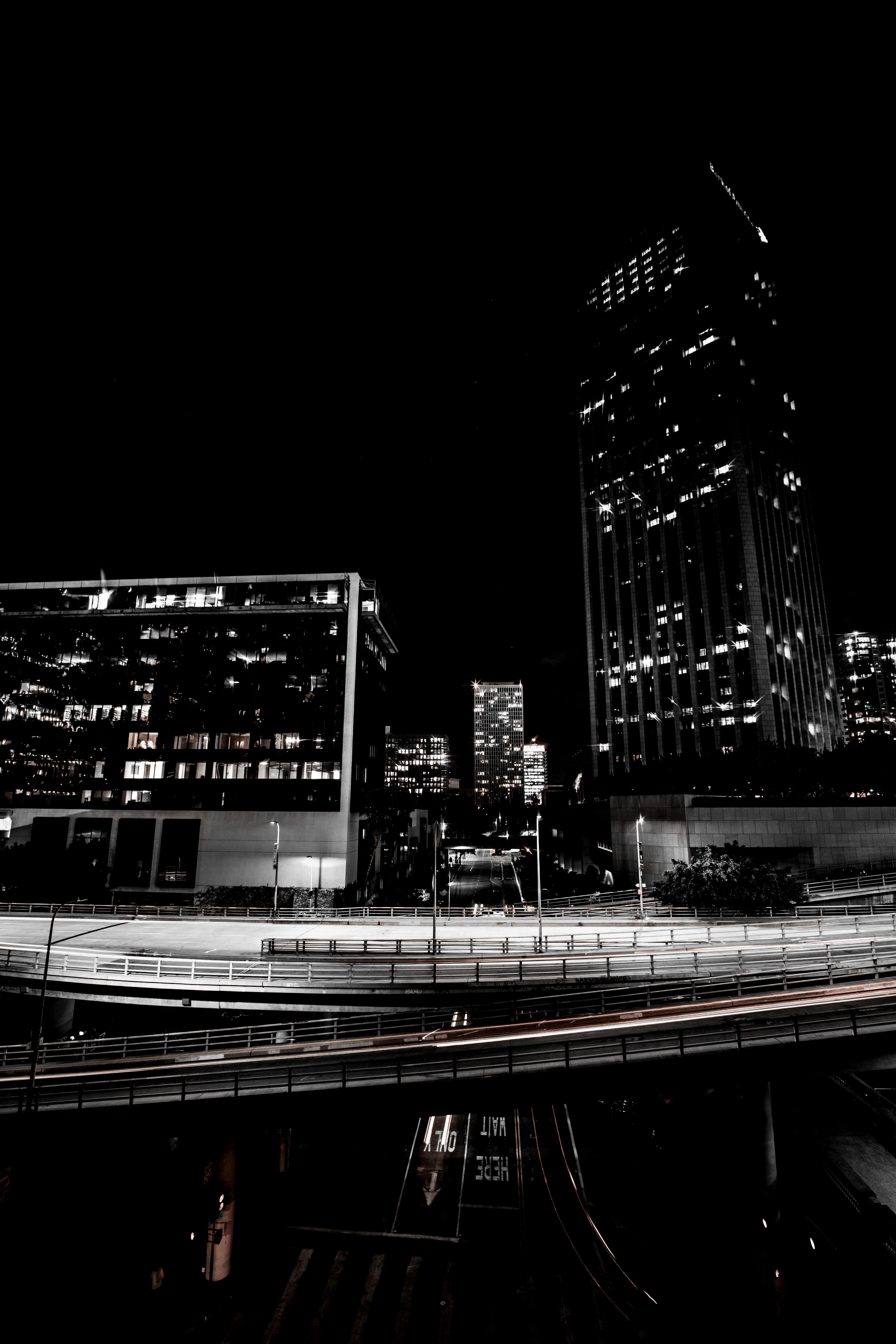 90337 скачать обои Небоскребы, Дорога, Транспортная Развязка, Ночь, Огни, Городской, Города - заставки и картинки бесплатно