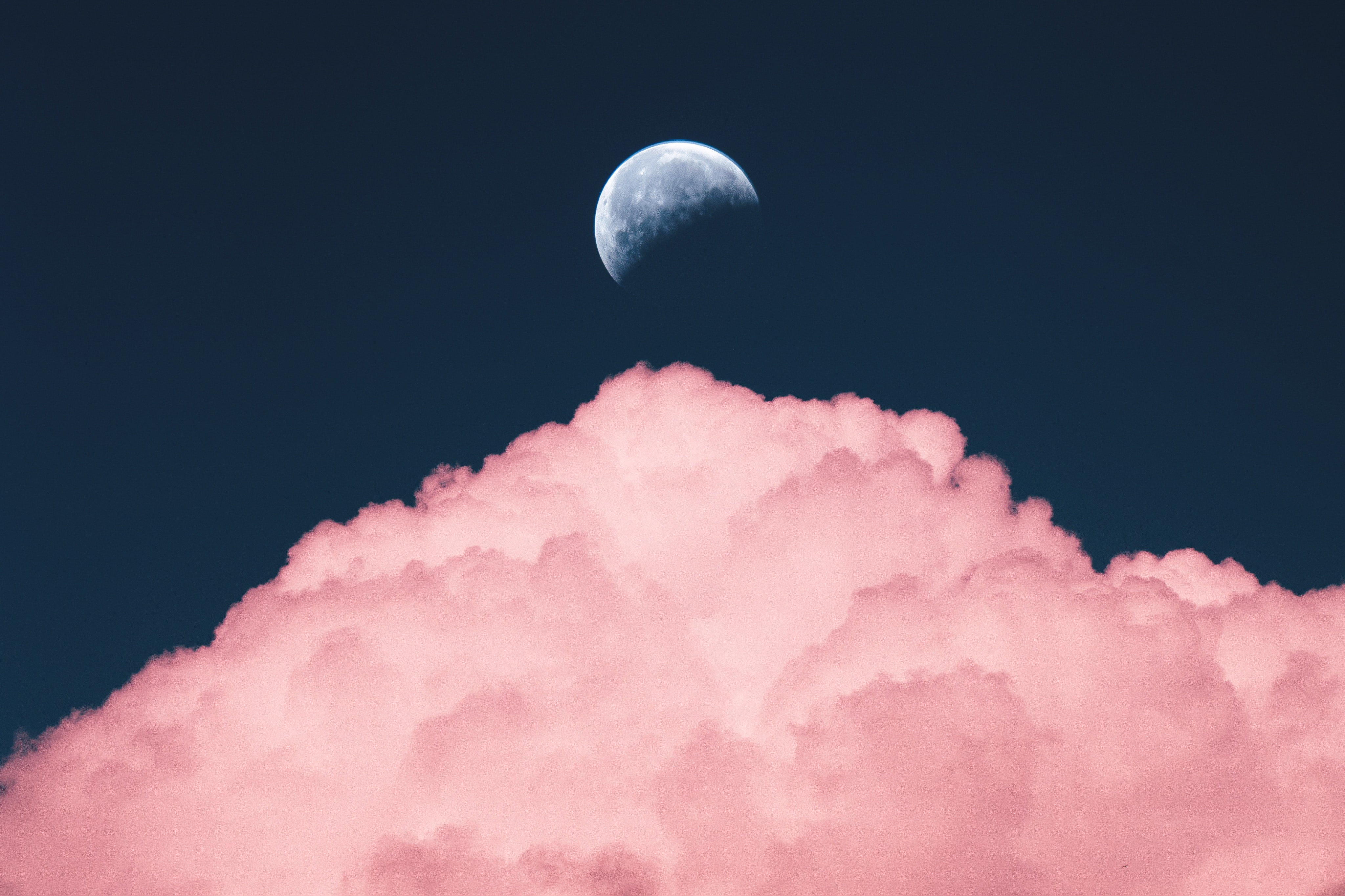 114353 download wallpaper Nature, Sky, Pink, Moon, Cloud screensavers and pictures for free