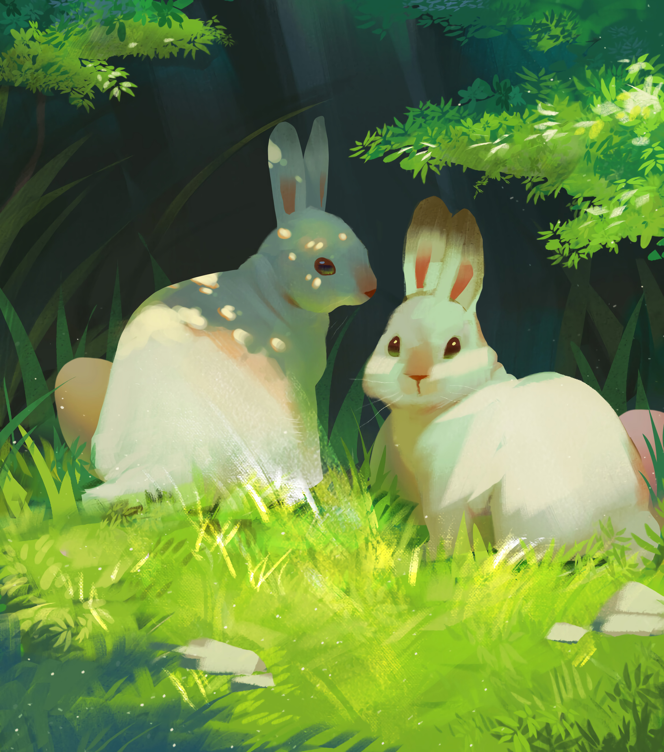 54837 download wallpaper Grass, Art, Rabbits, Nice, Sweetheart, Animation screensavers and pictures for free