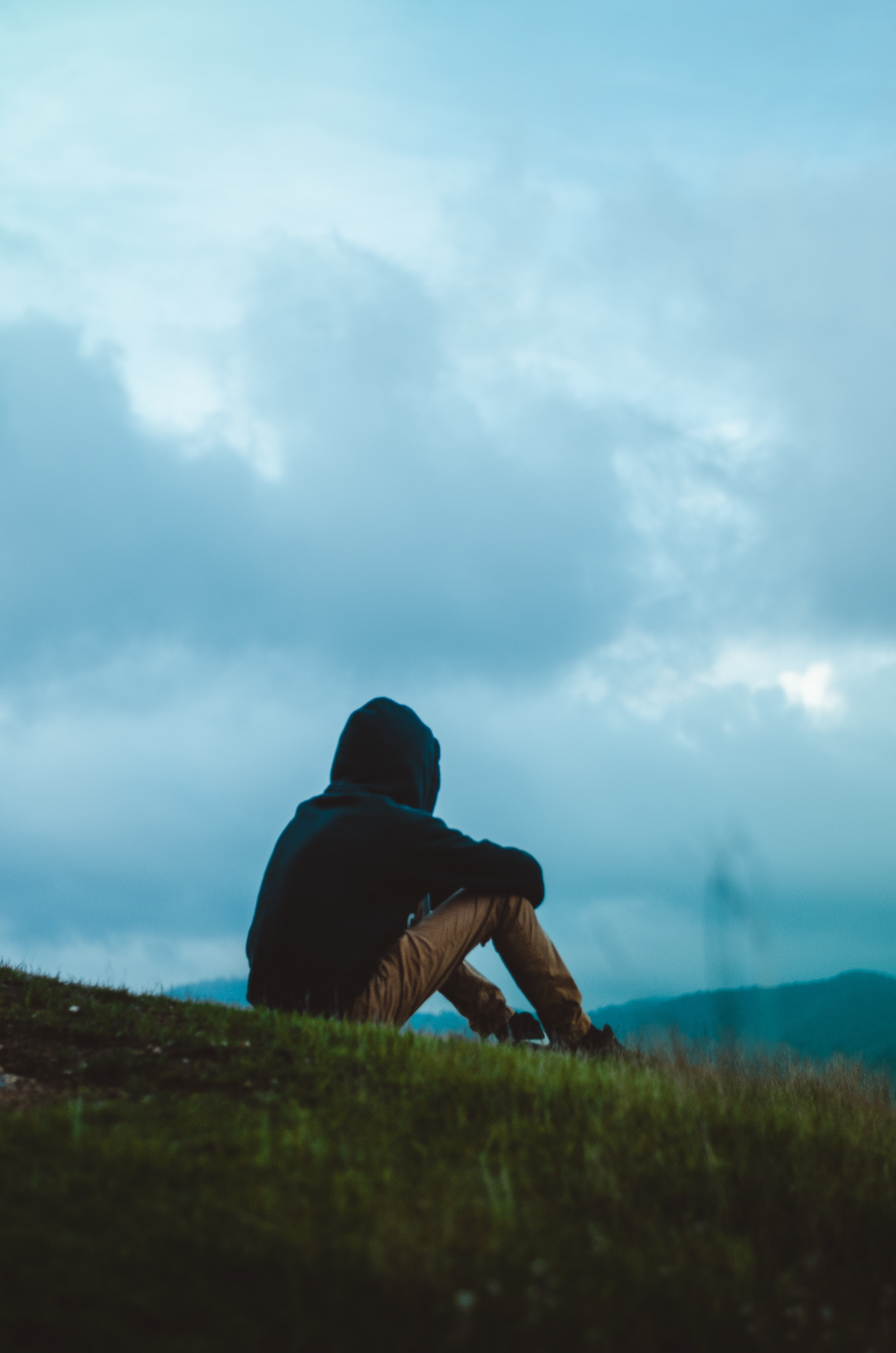 79848 Screensavers and Wallpapers Human for phone. Download Sky, Clouds, Miscellanea, Miscellaneous, Field, Human, Person, Loneliness, Hood pictures for free