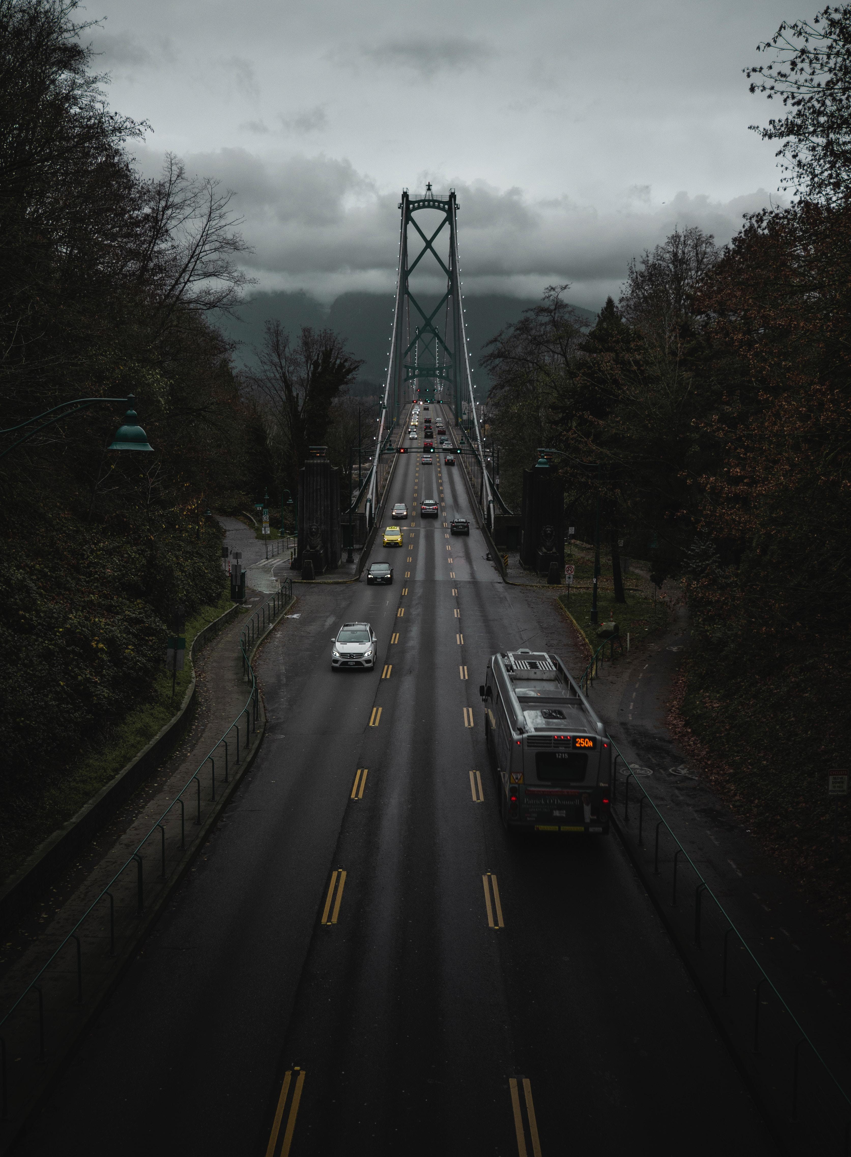 101217 скачать обои Транспорт, Канада, Города, Дорога, Движение, Мост, Ванкувер - заставки и картинки бесплатно
