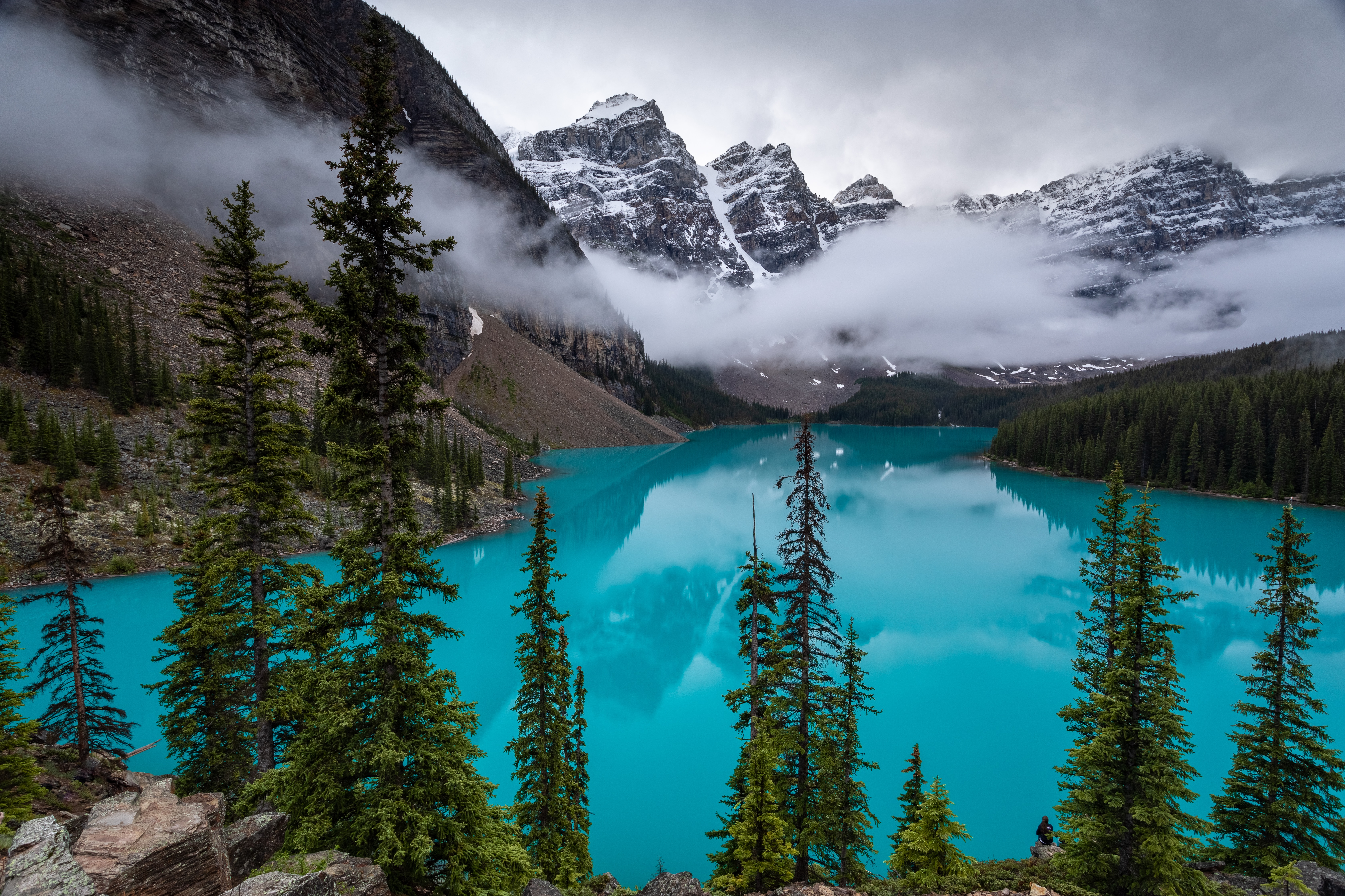 135144 download wallpaper Landscape, Nature, Trees, Mountains, Clouds, Lake screensavers and pictures for free