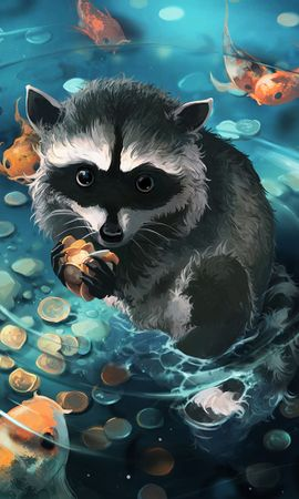 79792 download wallpaper Raccoon, Art, Coins, Water screensavers and pictures for free