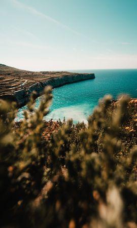 74411 descargar fondo de pantalla Naturaleza, Orilla, Banco, Mar, Acantilado, Roca, Piedra, Agua, Plantas: protectores de pantalla e imágenes gratis