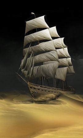 20487 скачать обои Транспорт, Корабли, Песок, Пустыня, Рисунки - заставки и картинки бесплатно