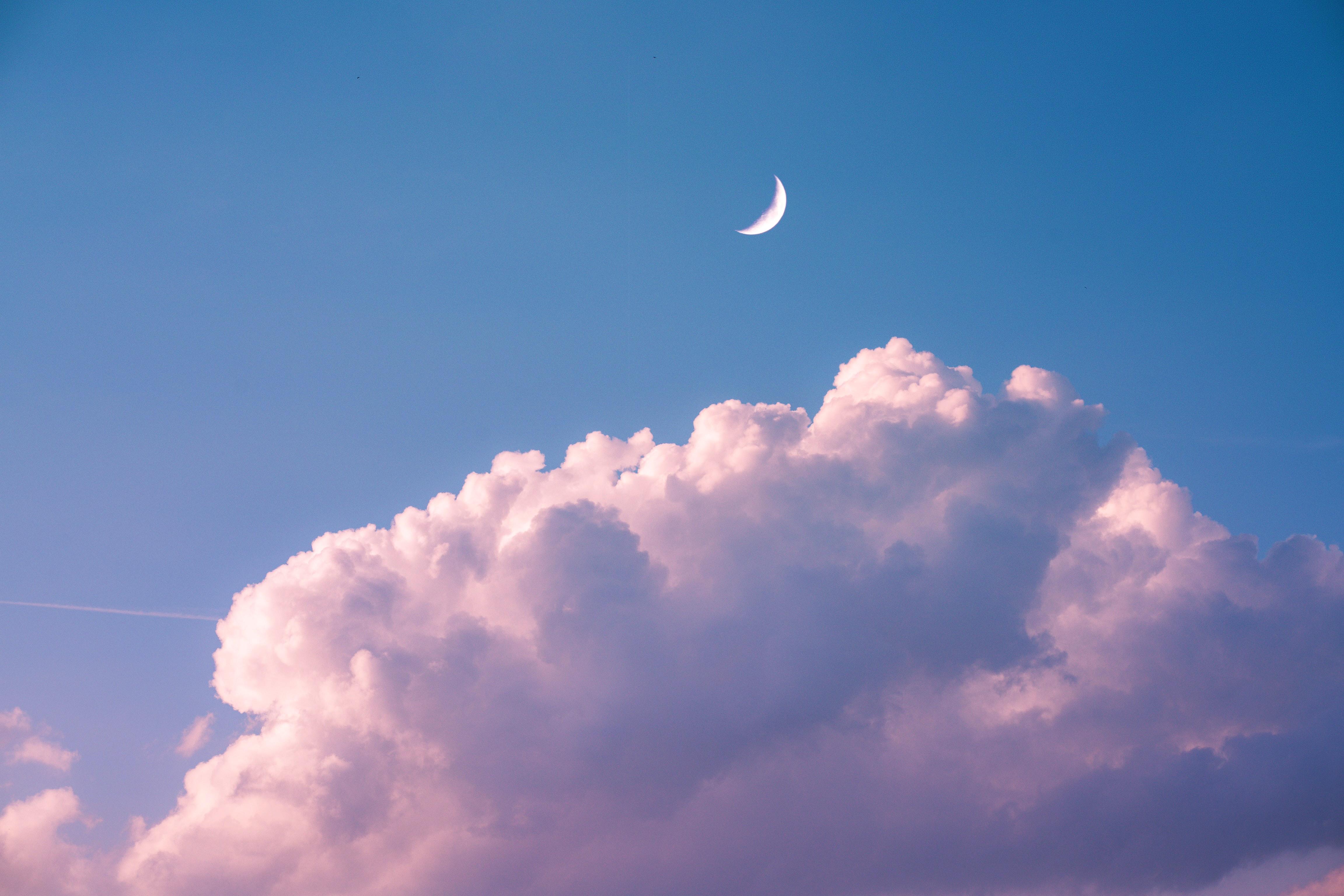 66467 免費下載壁紙 性质, 云, 云端, 月球, 天空 屏保和圖片
