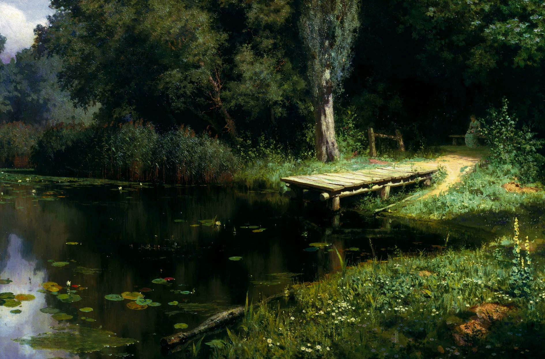 70928 download wallpaper Nature, Pier, Lake, Water Lilies, Trees, Painting, Art, Polenov, Overgrown Pond screensavers and pictures for free