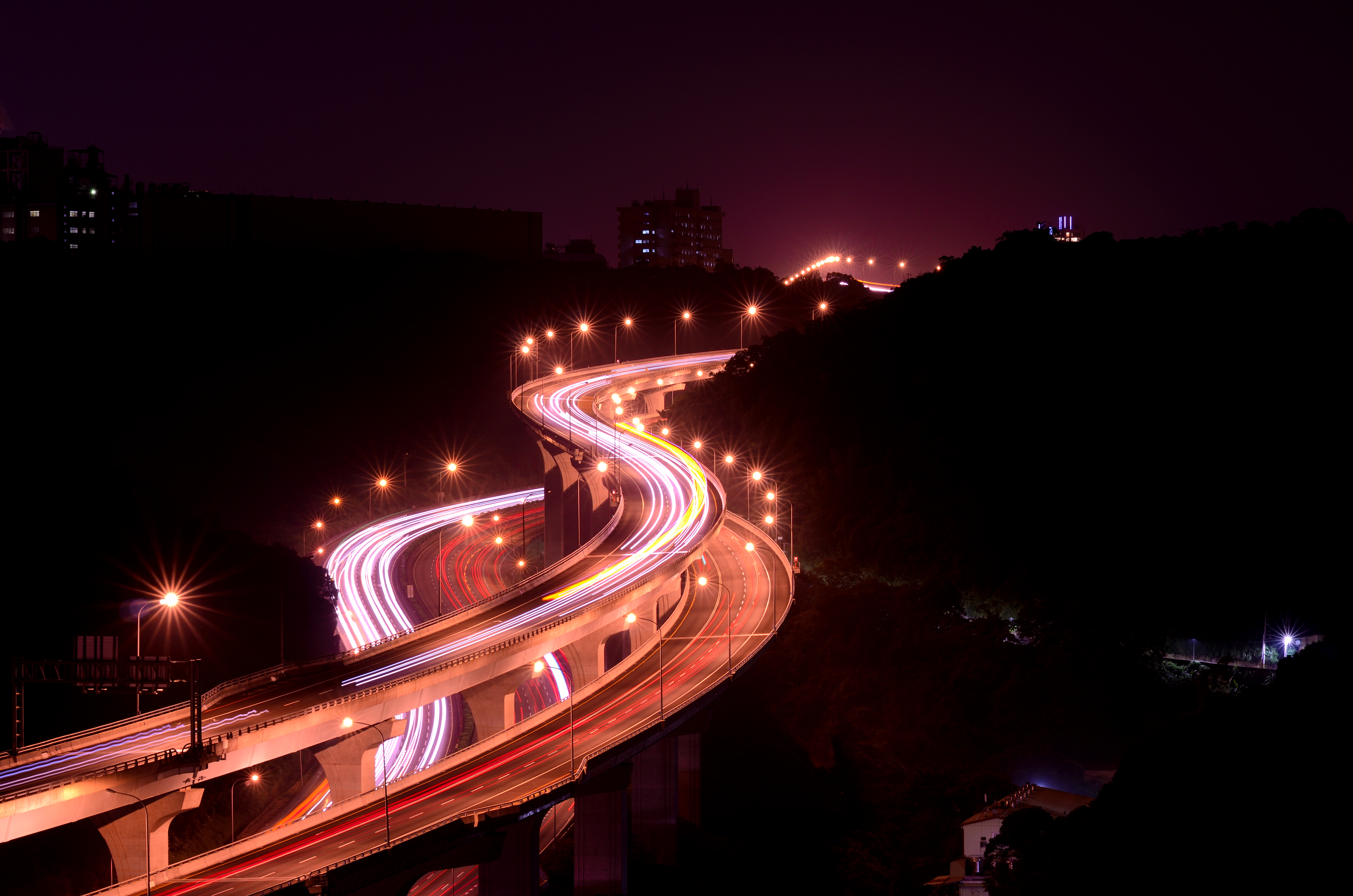 70545 Screensavers and Wallpapers Roads for phone. Download Cities, Roads, Lights, Long Exposure, Winding, Sinuous pictures for free