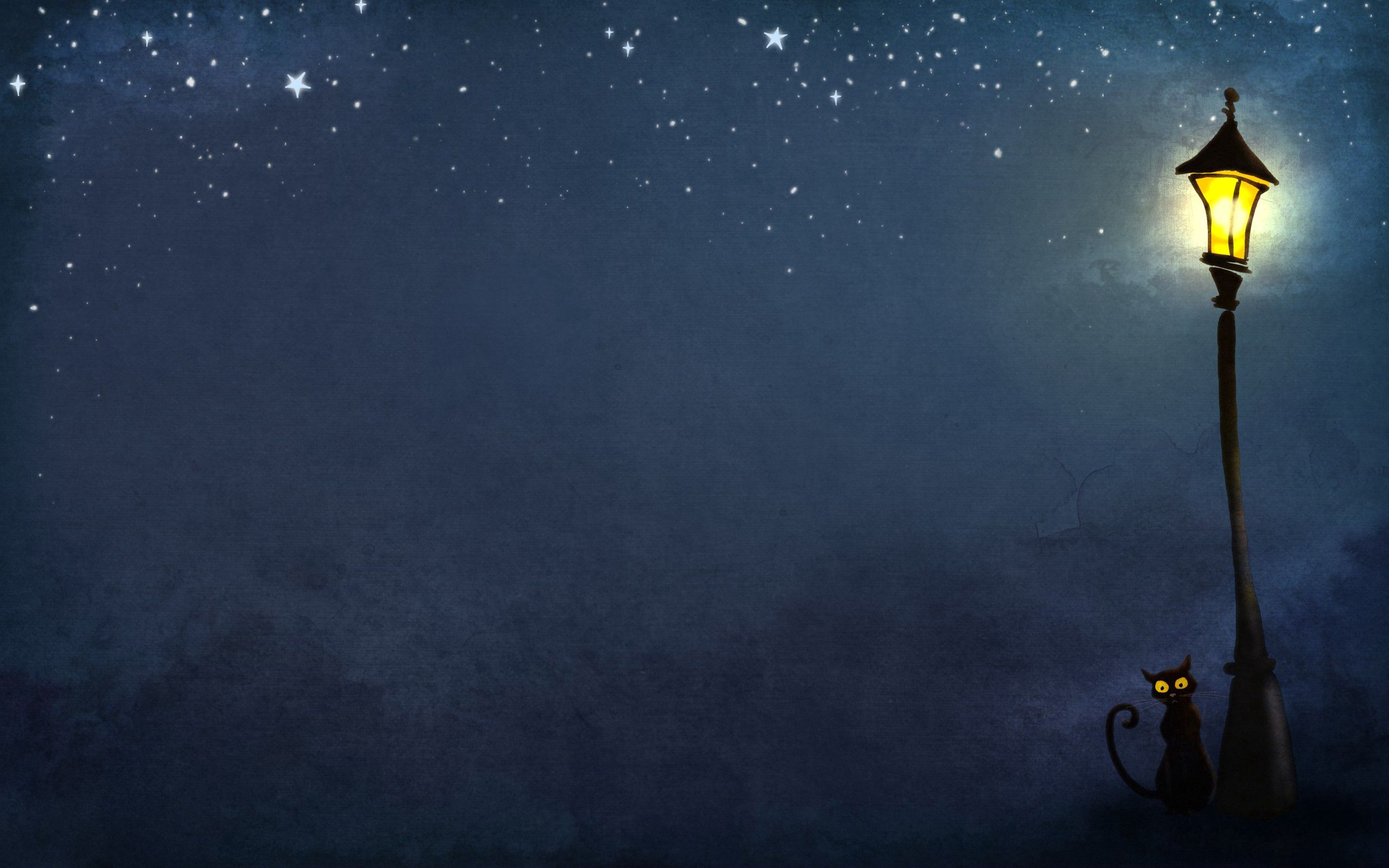 73663 download wallpaper Cats, Art, Night, Lamp, Lantern screensavers and pictures for free