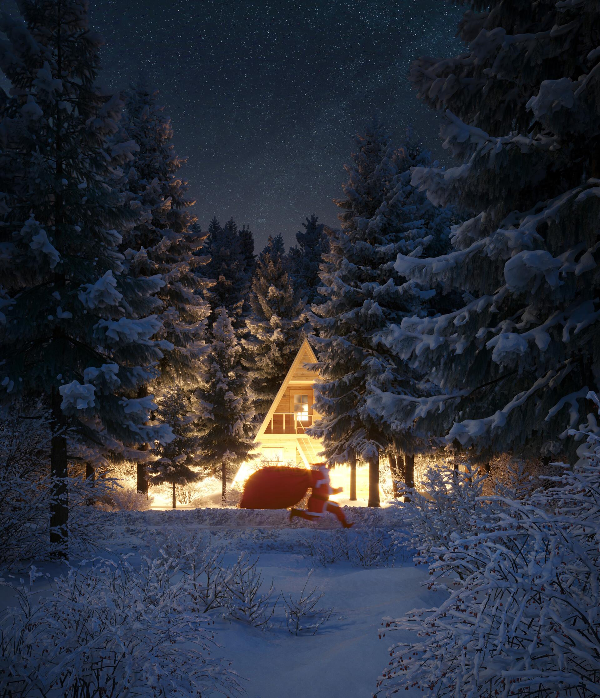 85617 скачать обои Санта Клаус, Праздники, Снег, Лес, Рождество, Новый Год, Дом - заставки и картинки бесплатно