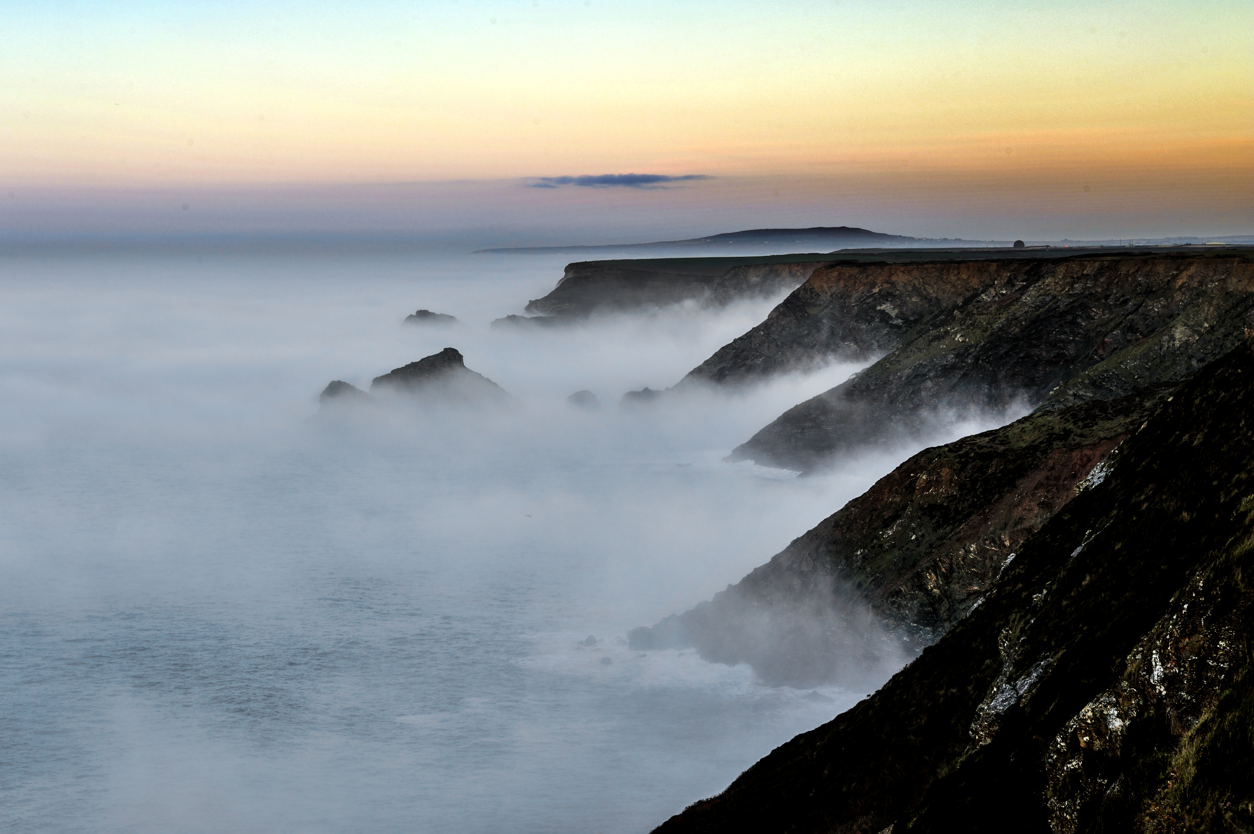 149498 download wallpaper Nature, Shore, Bank, Sea, Fog, Dusk, Twilight, Morning screensavers and pictures for free