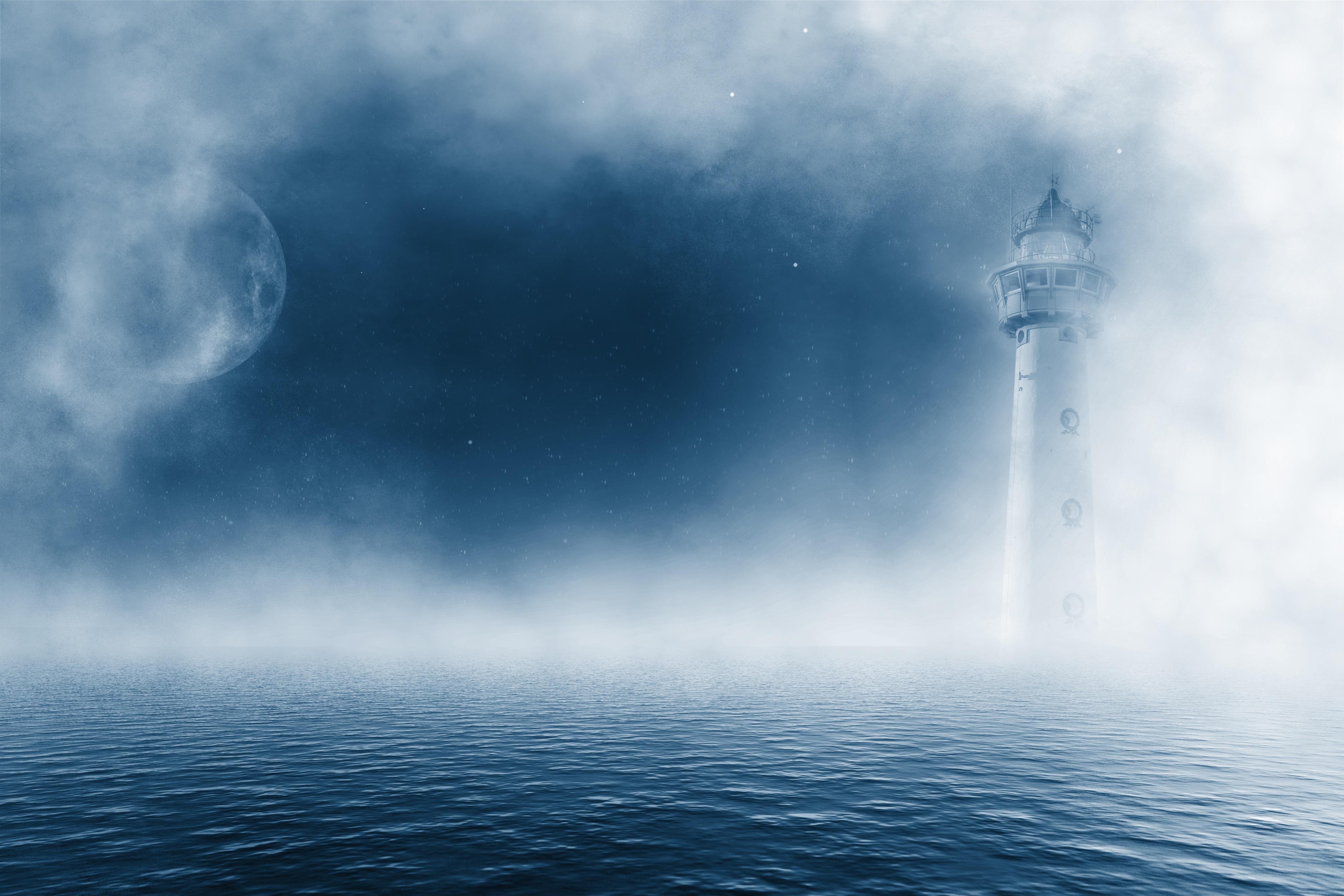 95009 скачать обои Природа, Маяк, Море, Туман, Облака - заставки и картинки бесплатно