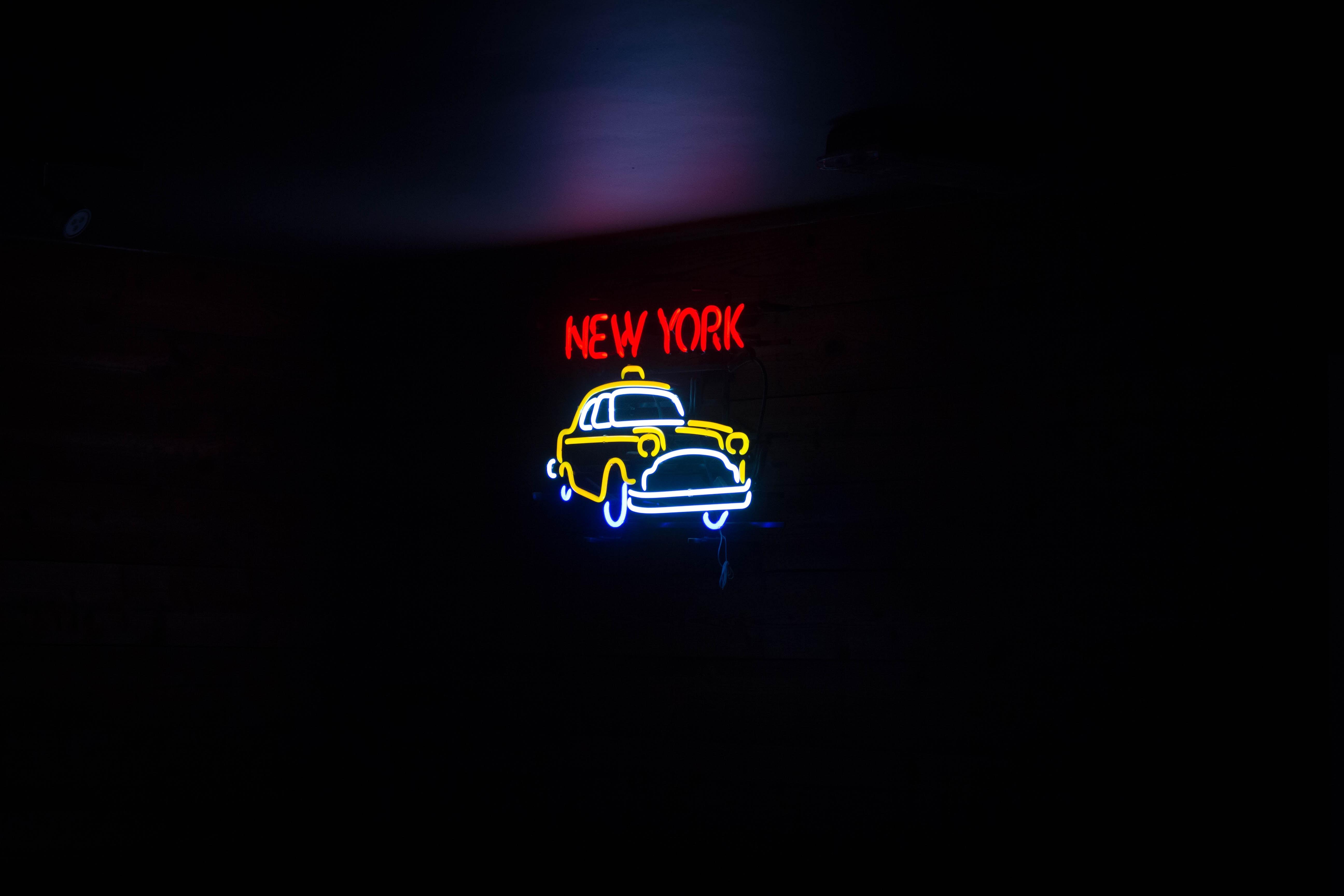 103413 скачать обои Слова, Арт, Неон, Надпись, Нью-Йорк - заставки и картинки бесплатно