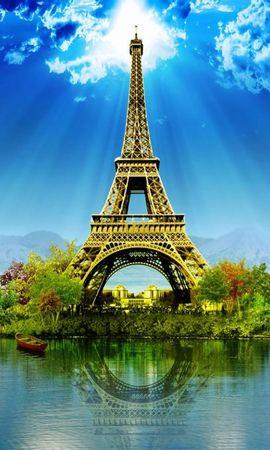 44267 скачать обои Пейзаж, Эйфелева Башня, Рисунки - заставки и картинки бесплатно