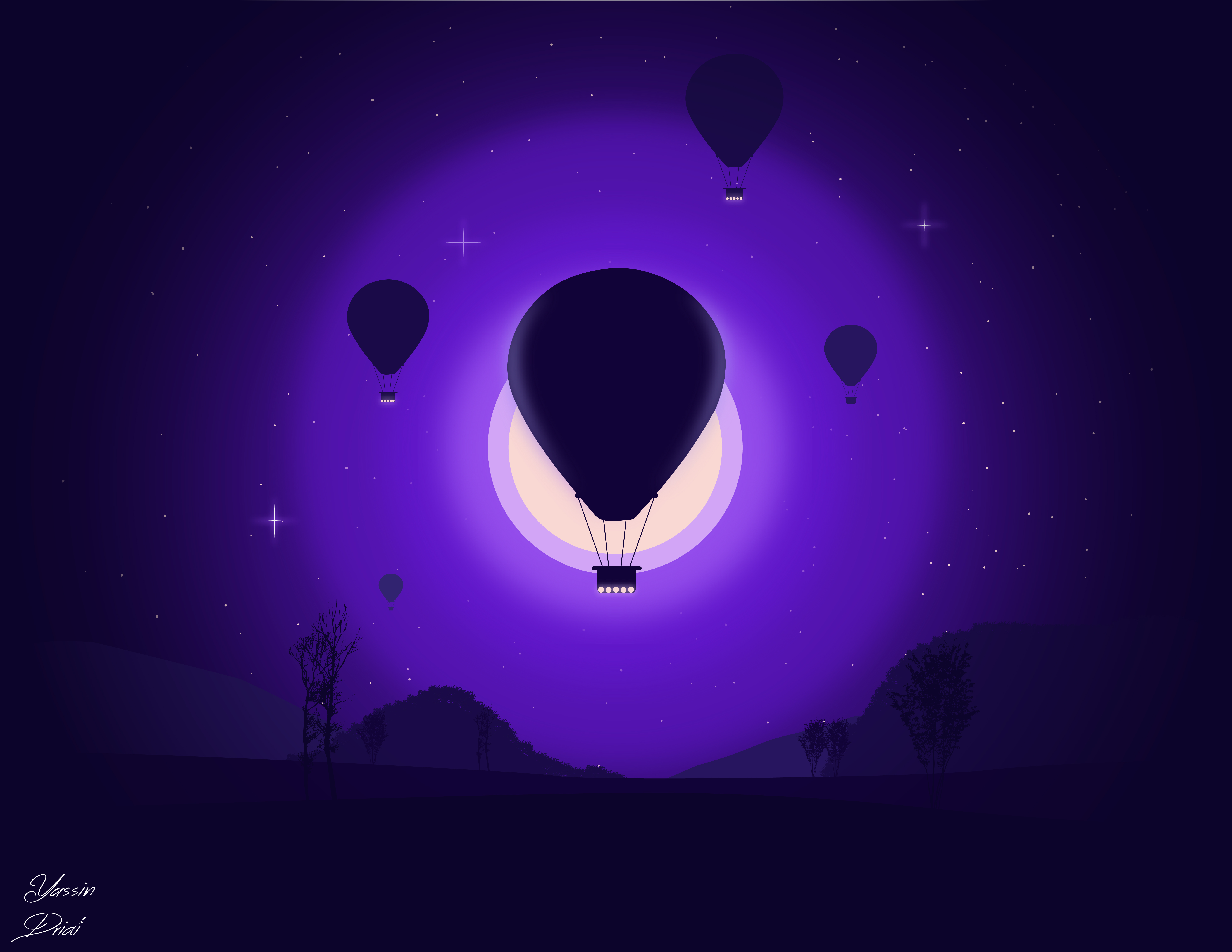 114793 Screensavers and Wallpapers Balloons for phone. Download Art, Night, Moon, Balloons, Vector pictures for free