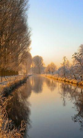 21947 скачать обои Пейзаж, Река, Деревья, Снег - заставки и картинки бесплатно