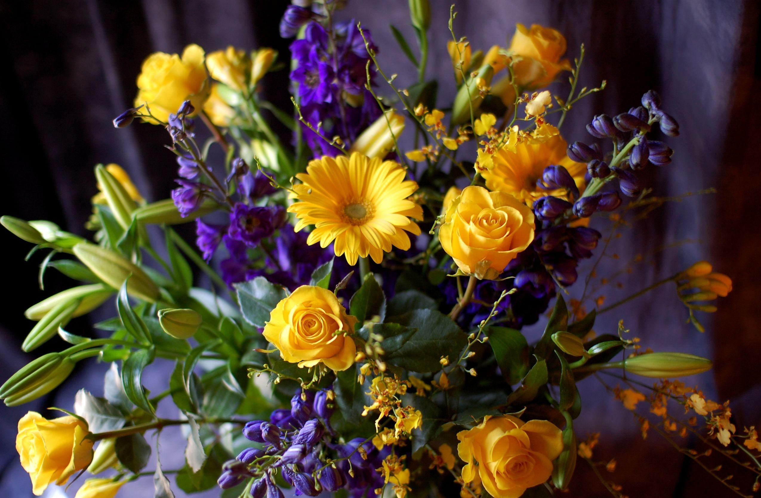 136902 download wallpaper Flowers, Freesia, Lilies, Buds, Bouquet, Composition, Roses, Gerberas screensavers and pictures for free