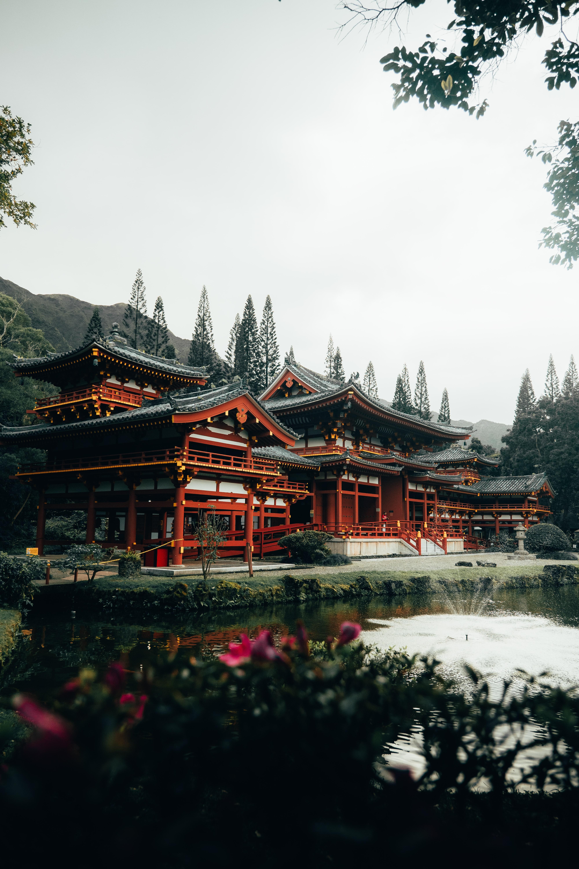 50666 скачать обои Разное, Пагода, Озеро, Деревья, Архитектура, Цветы - заставки и картинки бесплатно