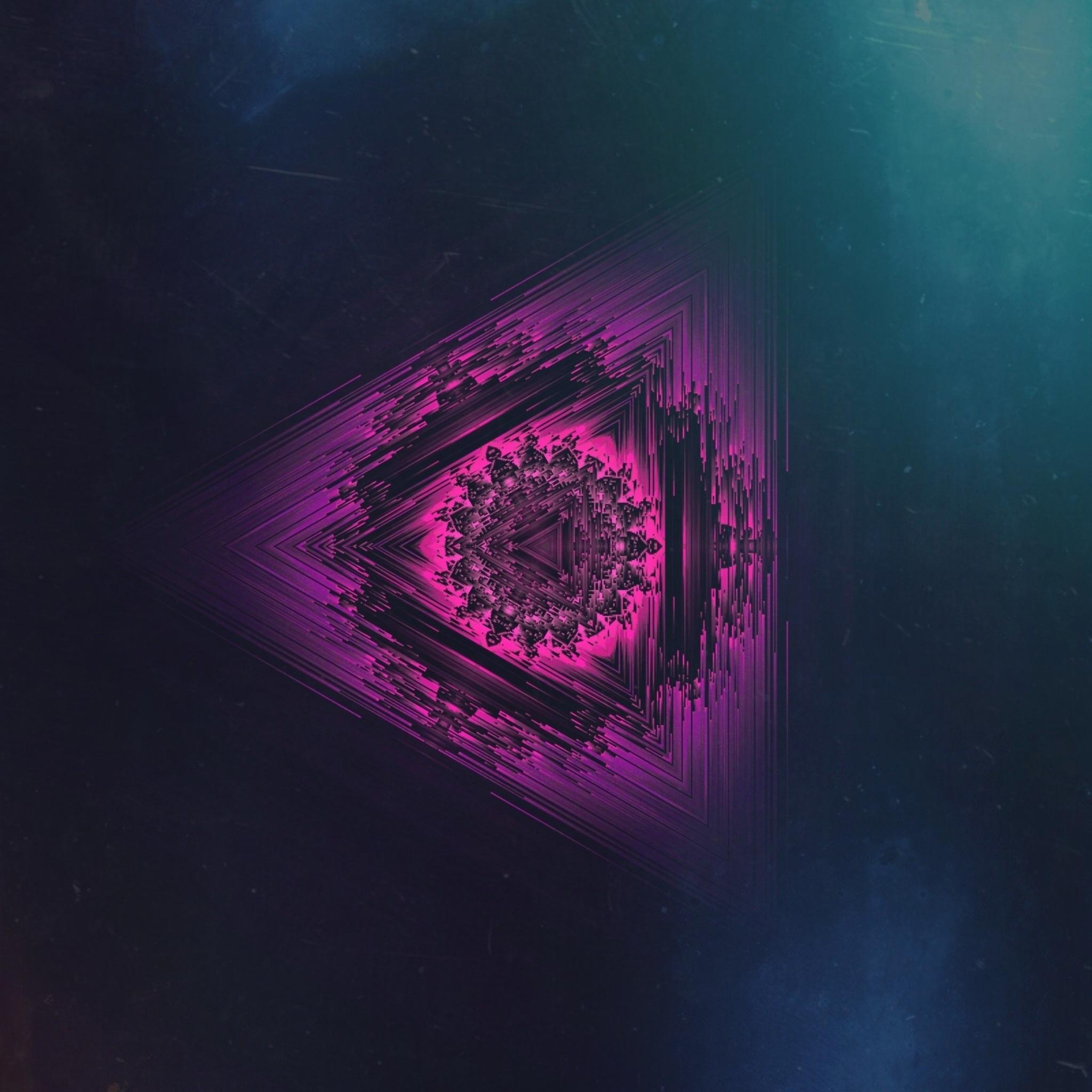 84611 download wallpaper Miscellanea, Miscellaneous, Neon, Triangle, Mandala, Symmetric, Glitch Art, Glitz Art screensavers and pictures for free