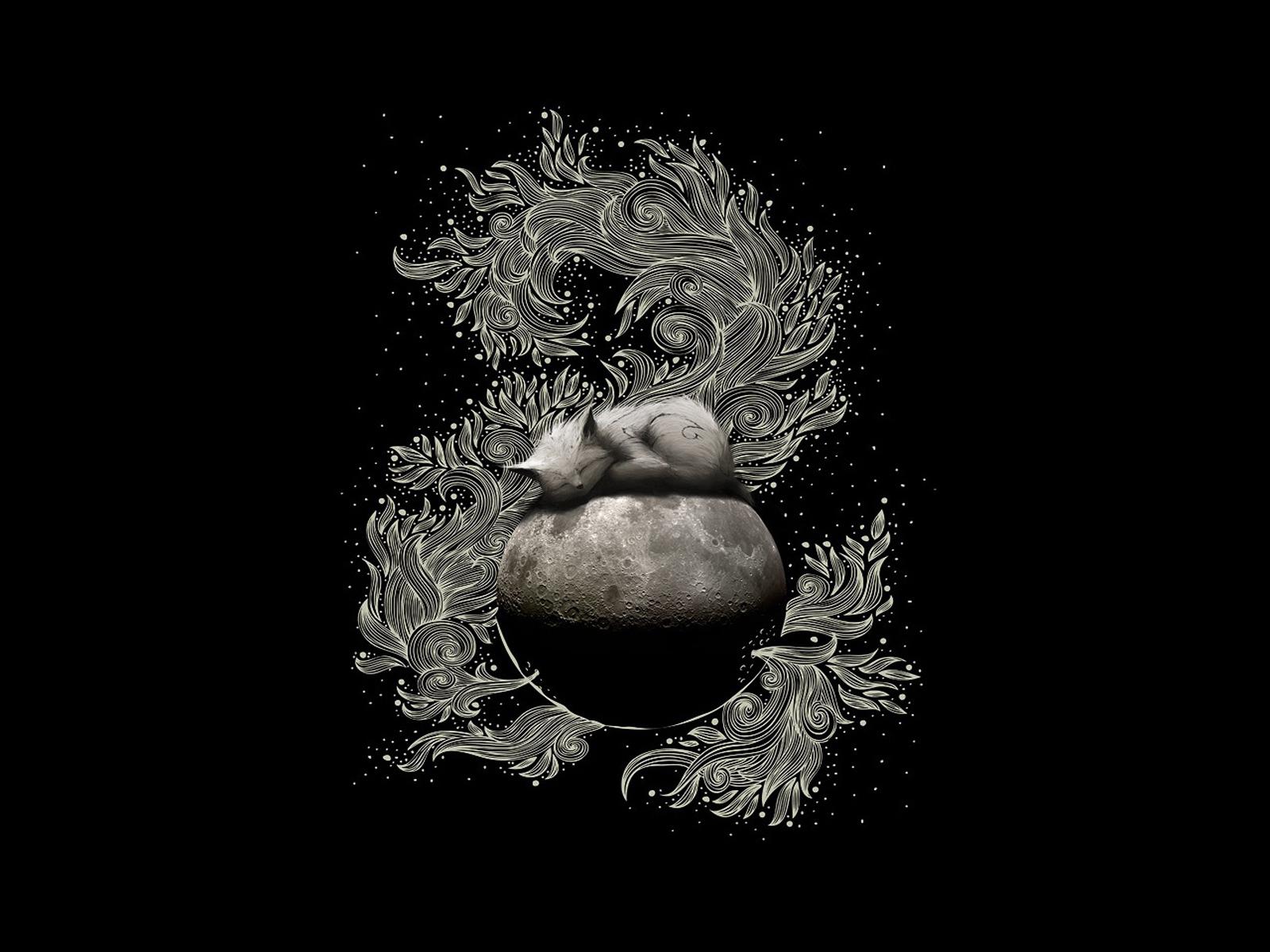 10957 скачать обои Животные, Кошки (Коты, Котики), Планеты, Луна, Рисунки - заставки и картинки бесплатно