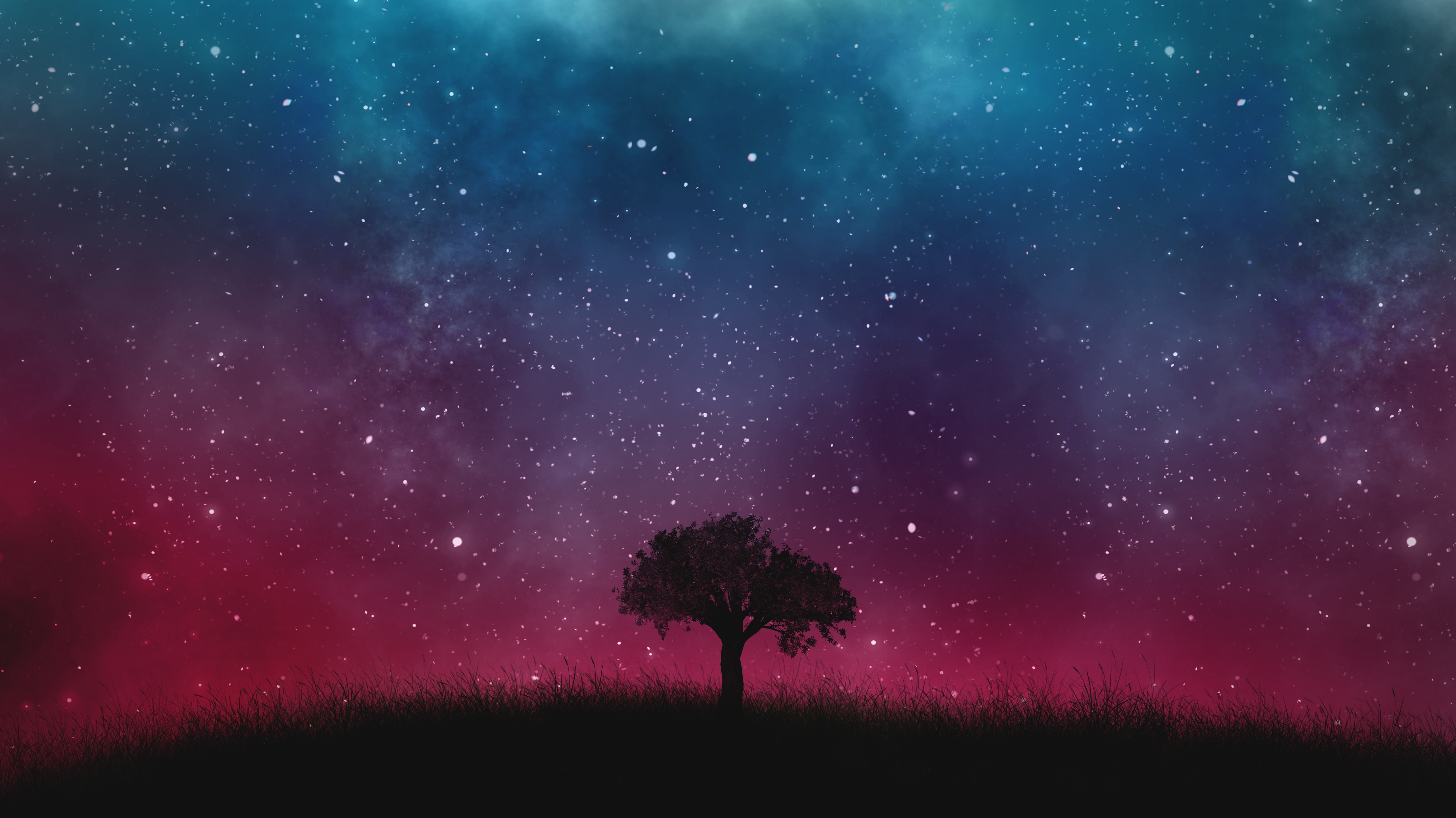 134653 download wallpaper Night, Vector, Wood, Tree, Starry Sky screensavers and pictures for free