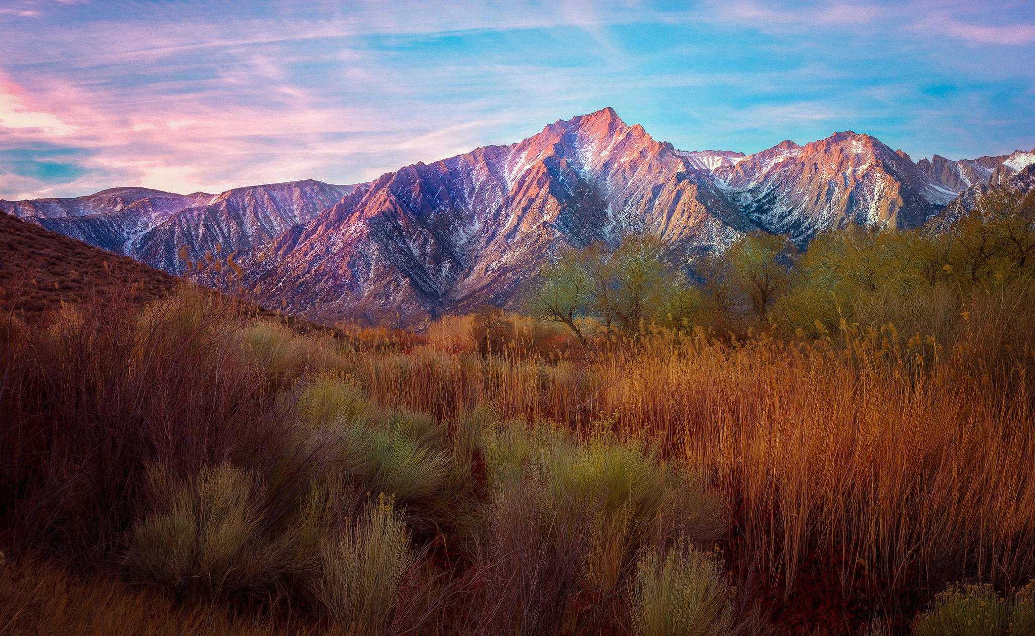 102123 download wallpaper Nature, Reeds, Grass, Sky, Mountains screensavers and pictures for free