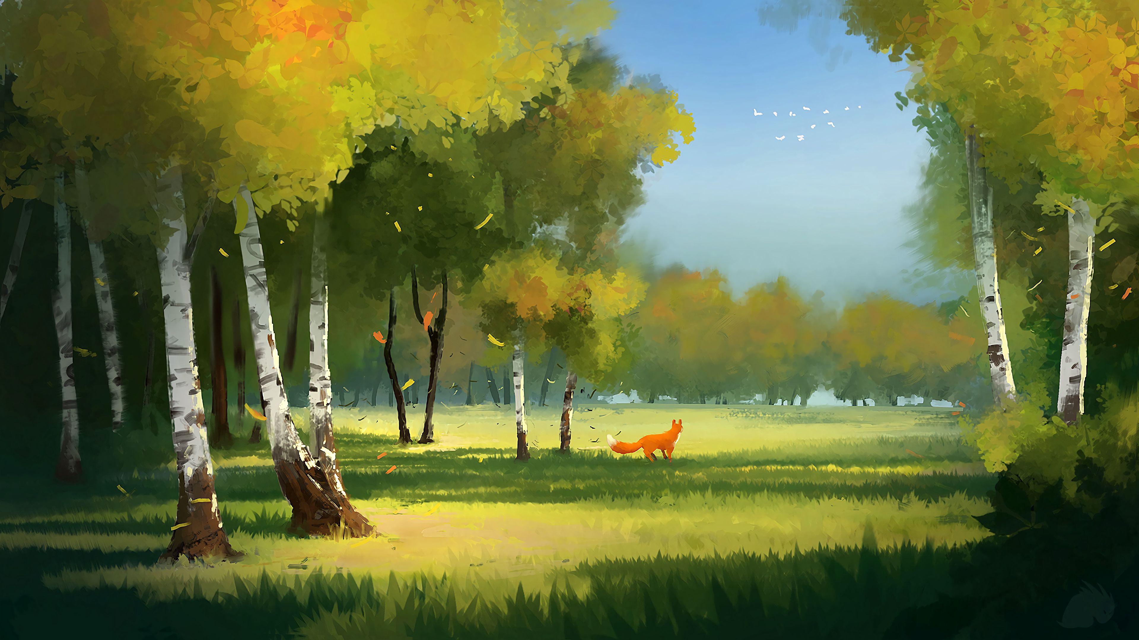 80872 скачать обои Лиса, Деревья, Арт, Лес, Поляна - заставки и картинки бесплатно