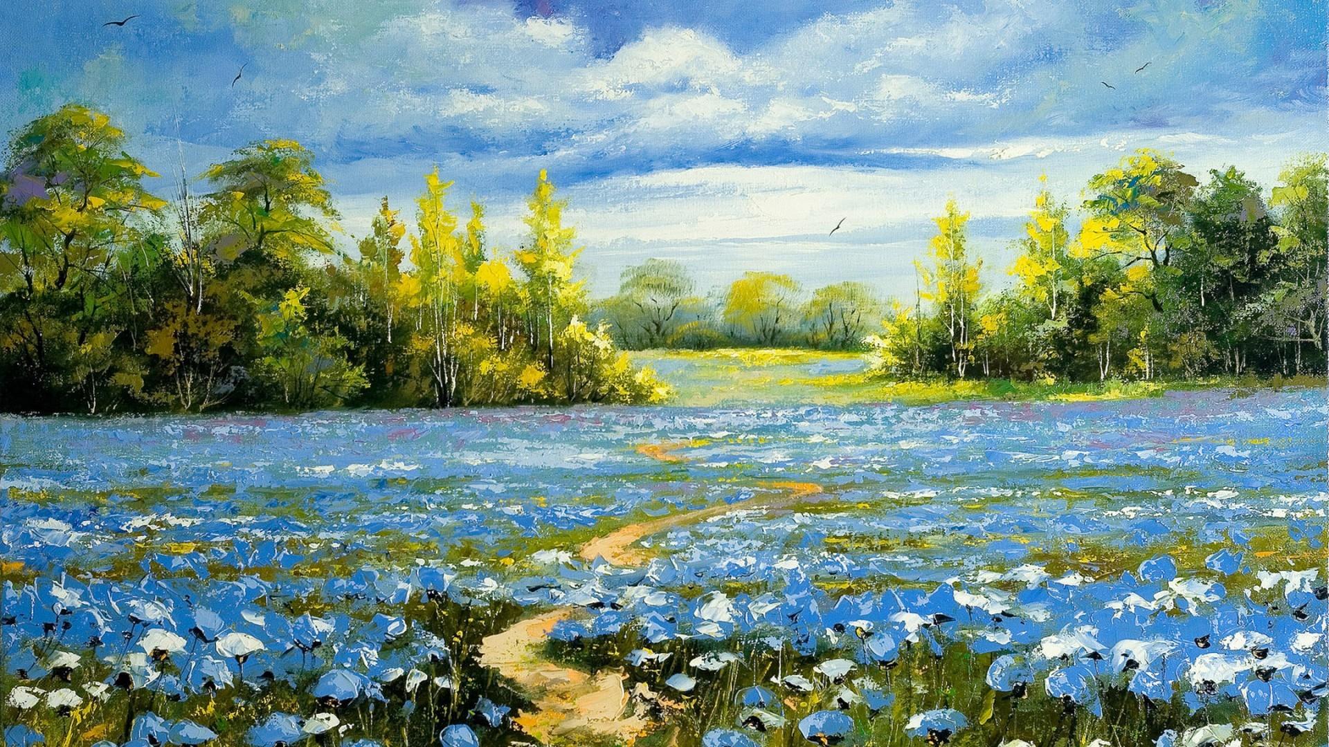 26797 скачать обои Пейзаж, Цветы, Деревья, Поля, Рисунки - заставки и картинки бесплатно
