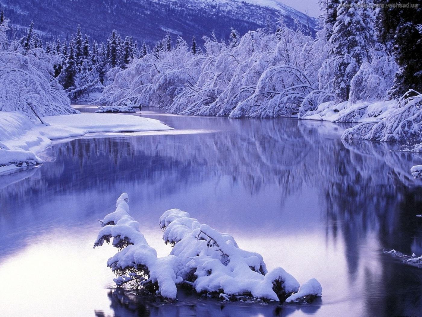 25956 скачать обои Пейзаж, Река, Деревья, Снег - заставки и картинки бесплатно