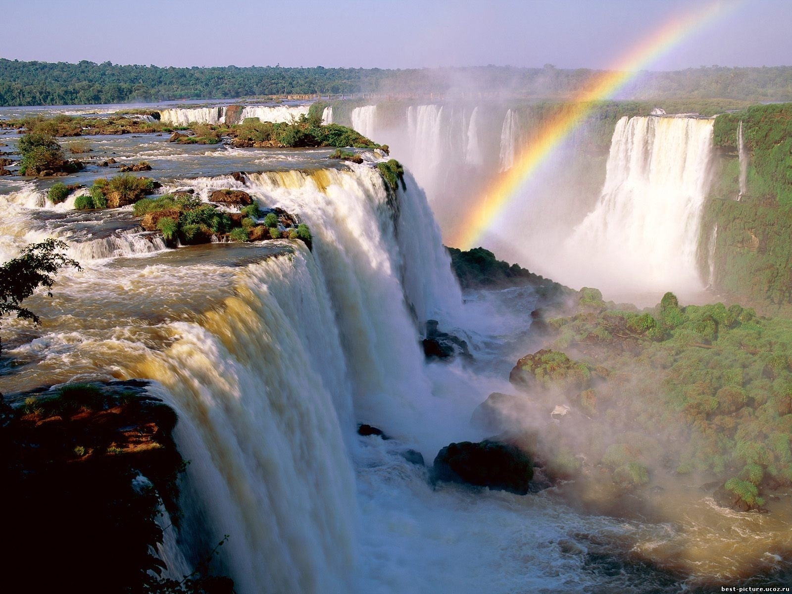3815 download wallpaper Landscape, Water, Waterfalls, Rainbow screensavers and pictures for free